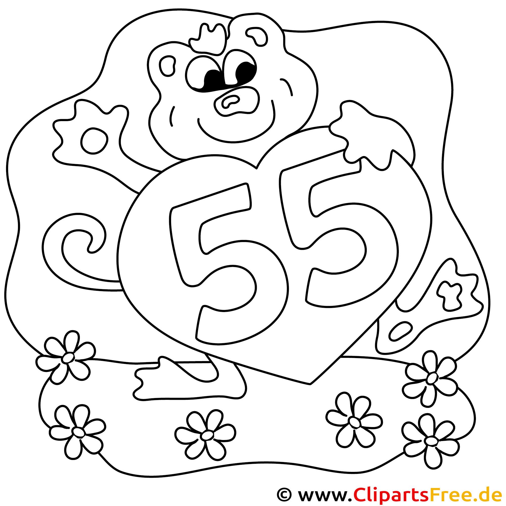 Malvorlage zum 55. Geburtstag
