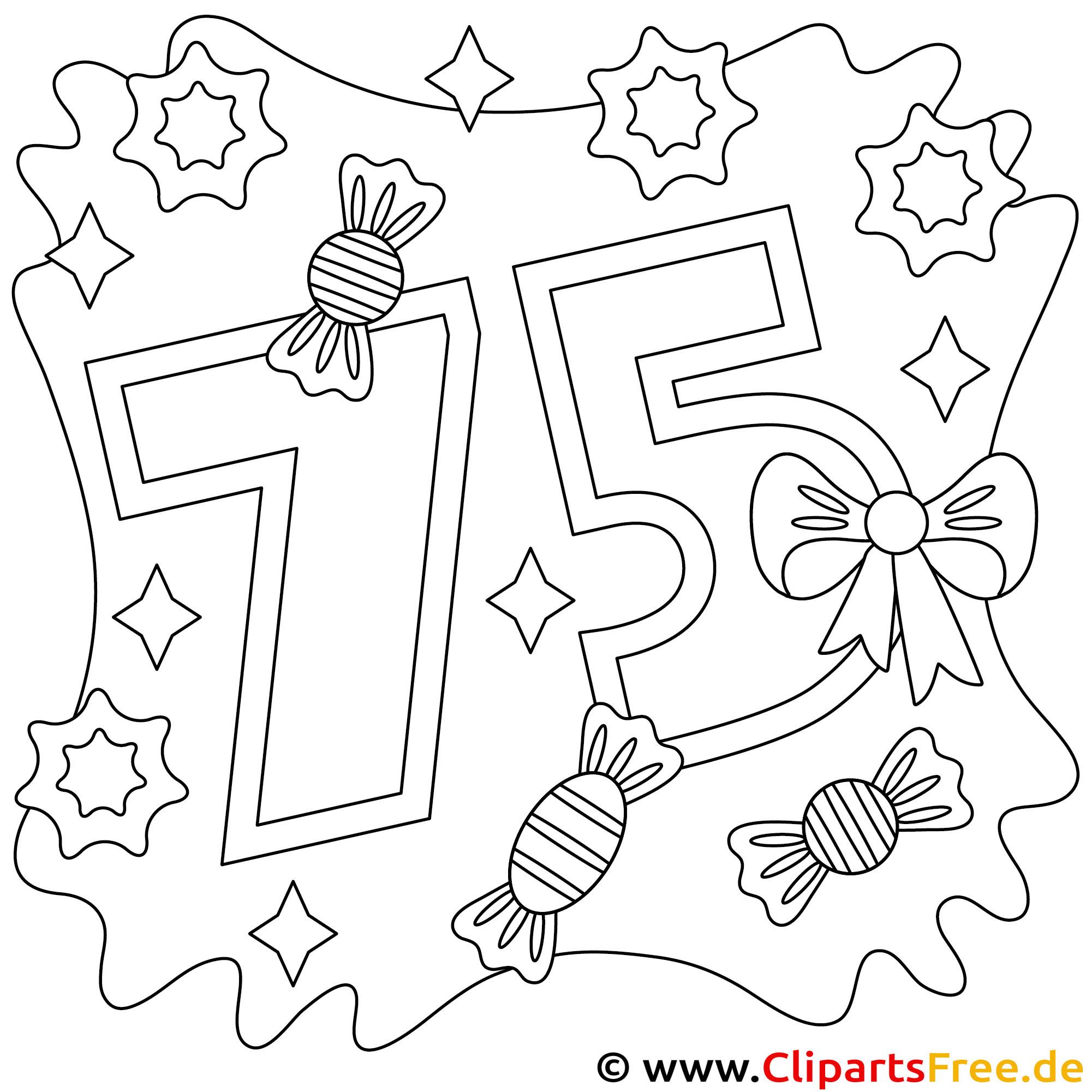 Malvorlage zum 75. Geburtstag