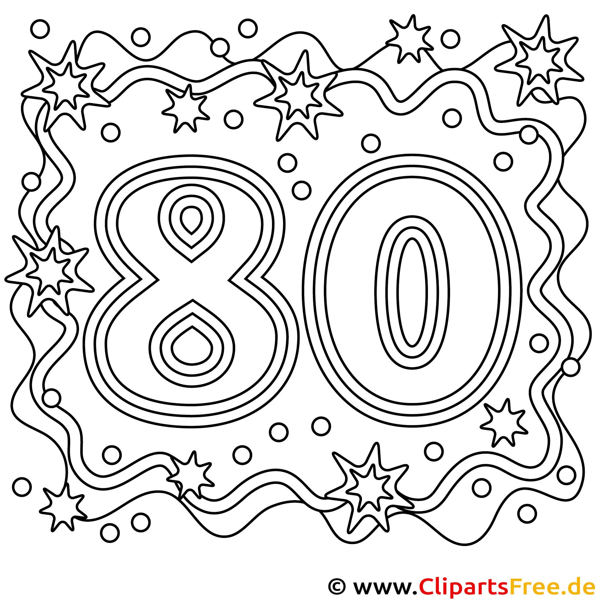 Malvorlage zum 80 Geburtstag