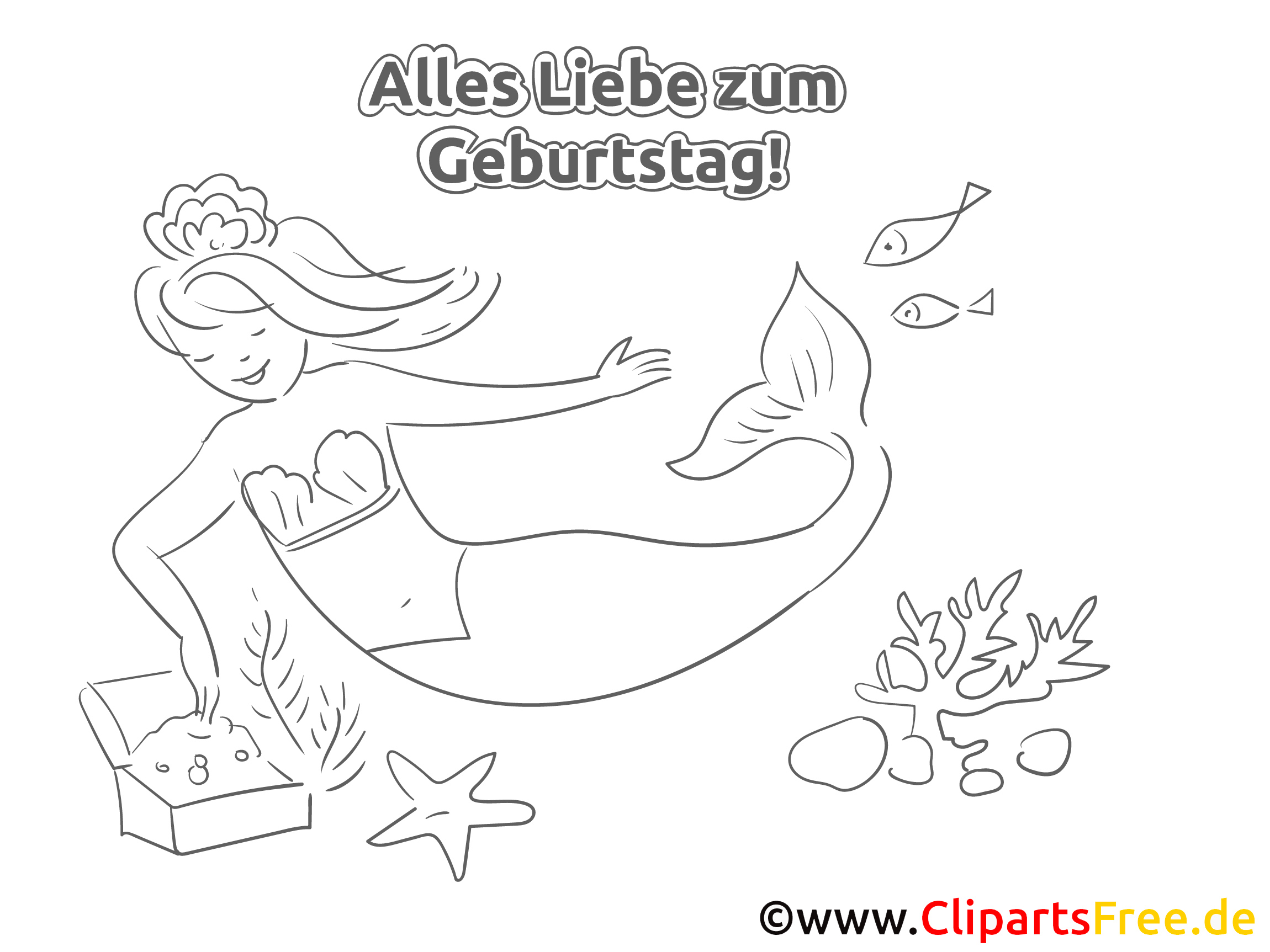 Meerjungfrau Malvorlage zum Geburtstag