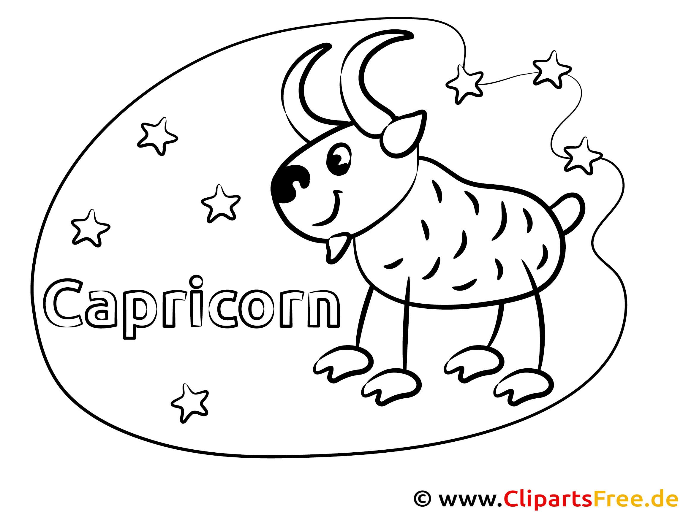 Steinbock Sternzeichen Malvorlage für Kinder gratis