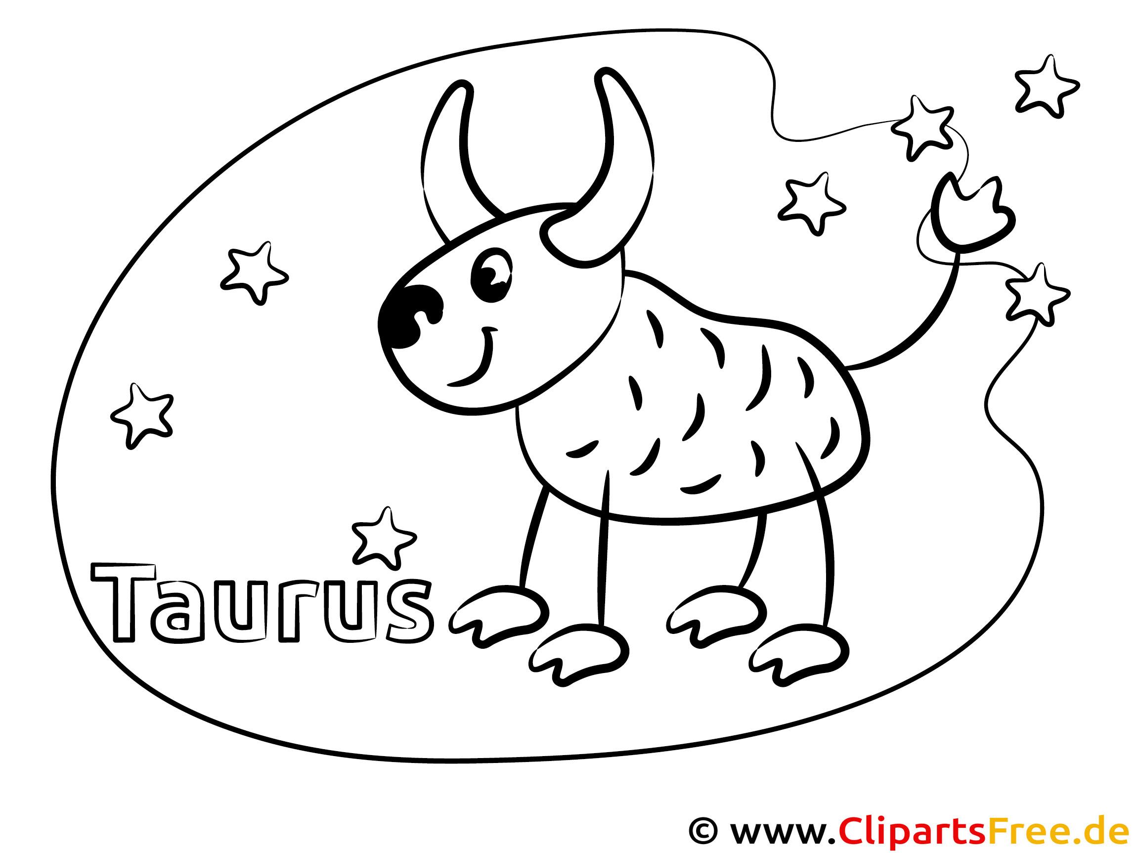 Stier Sternzeichen Malvorlage für Kinder