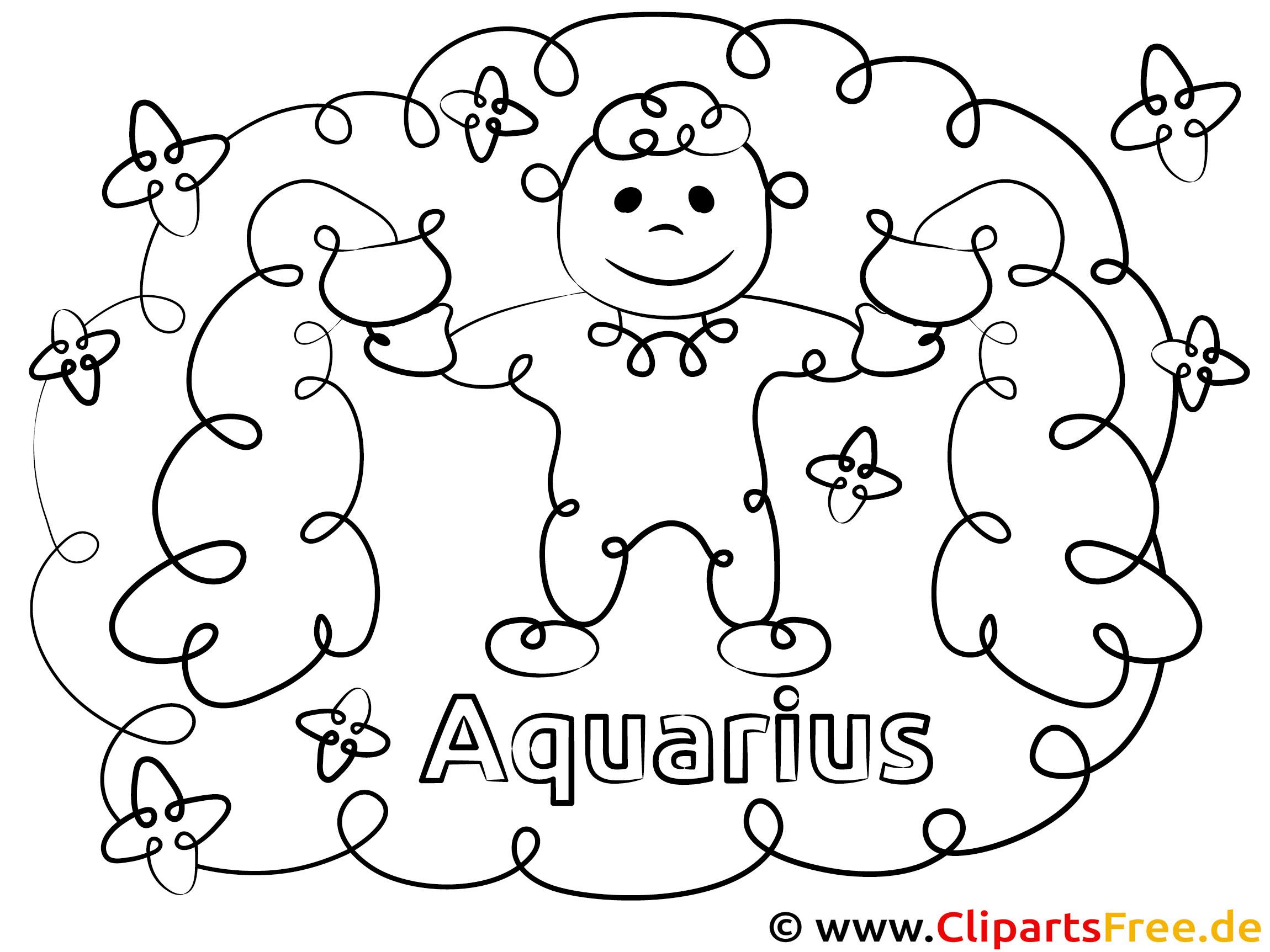 Wassermann Sternzeichen Ausmalbild für Kinder kostenlos ausdrucken