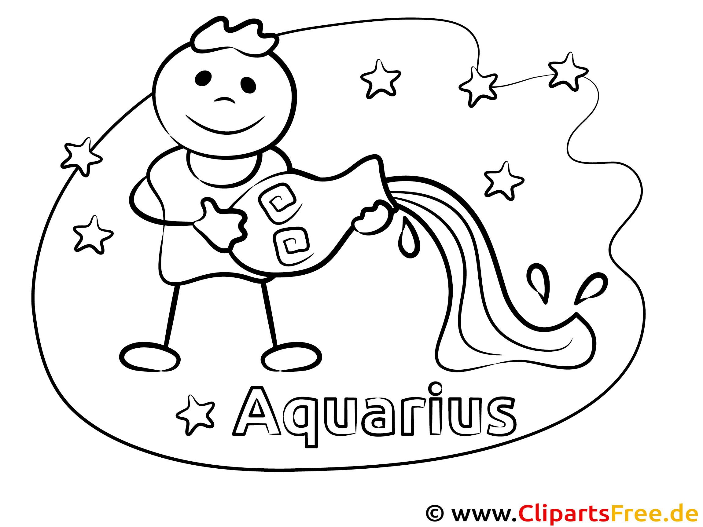 Wassermann Sternzeichen Malvorlage für Kinder