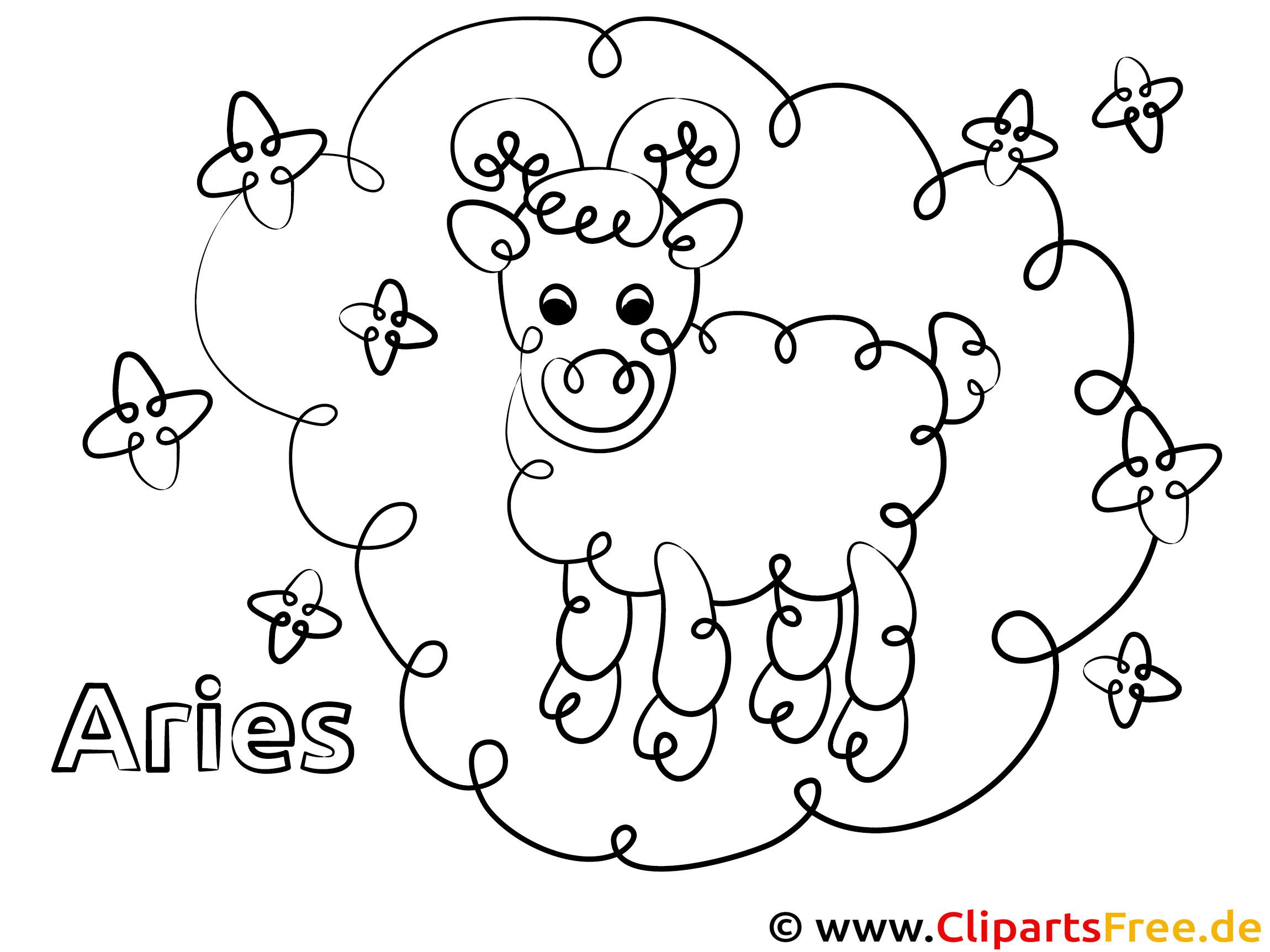 Widder Sternzeichen Malvorlage für Kinder