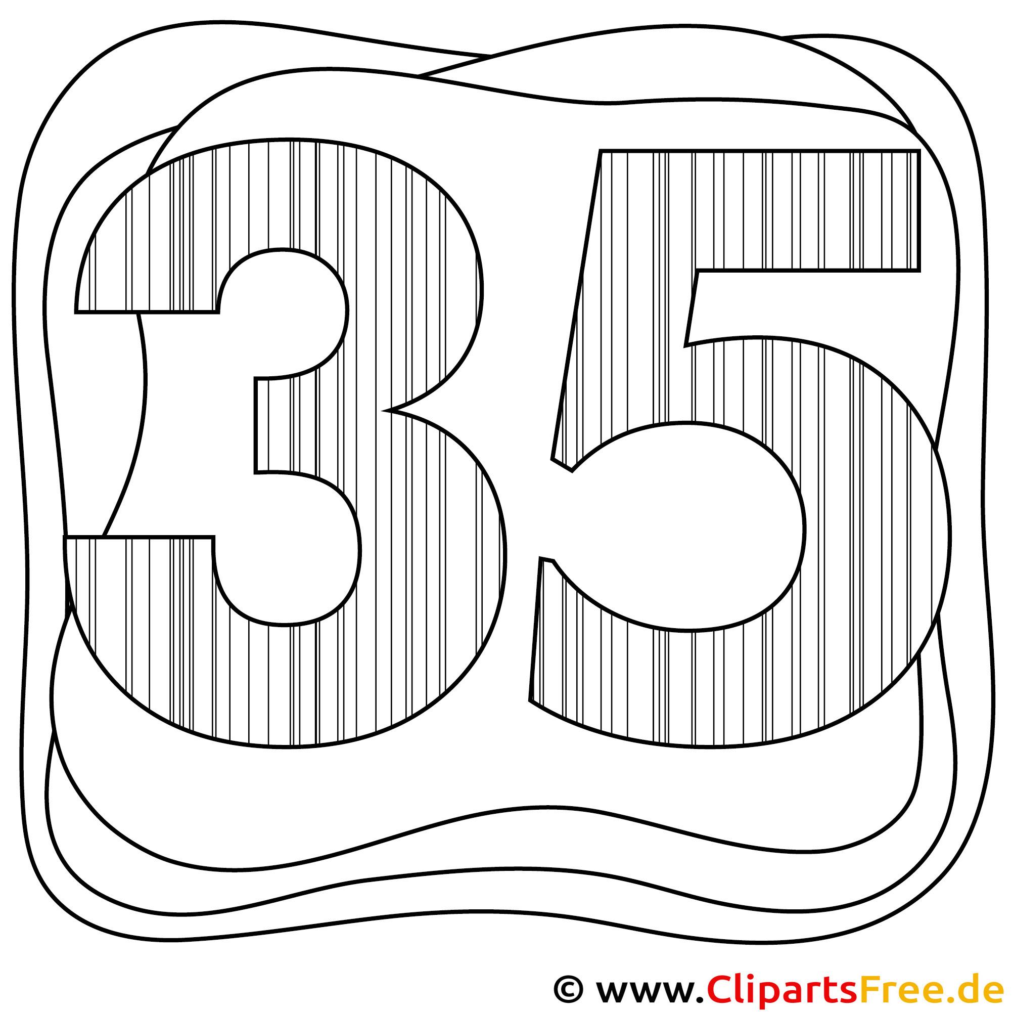 Zahl 35 zum Ausmalen