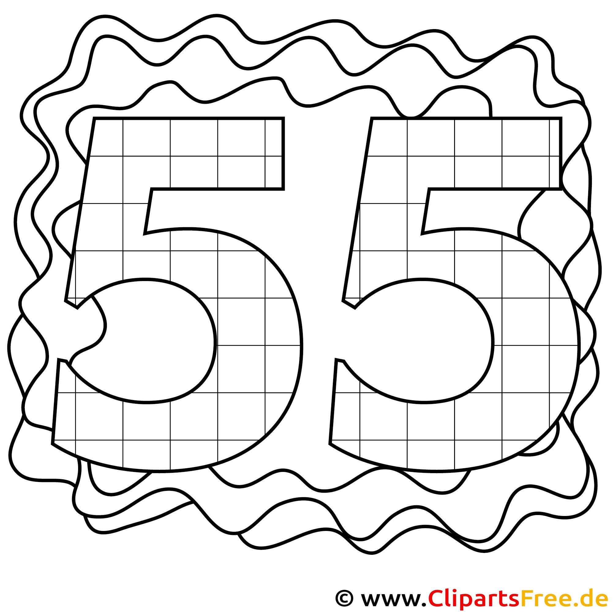 Zahl 55 - Vorlage zum Ausmalen