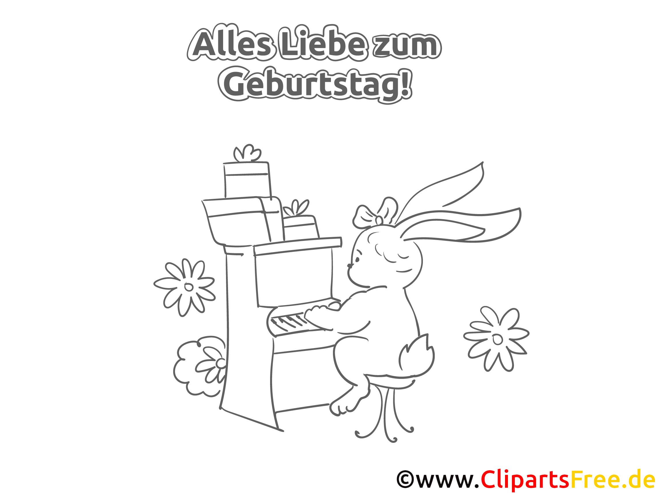 klavier kaninchen malvorlage zum geburtstag