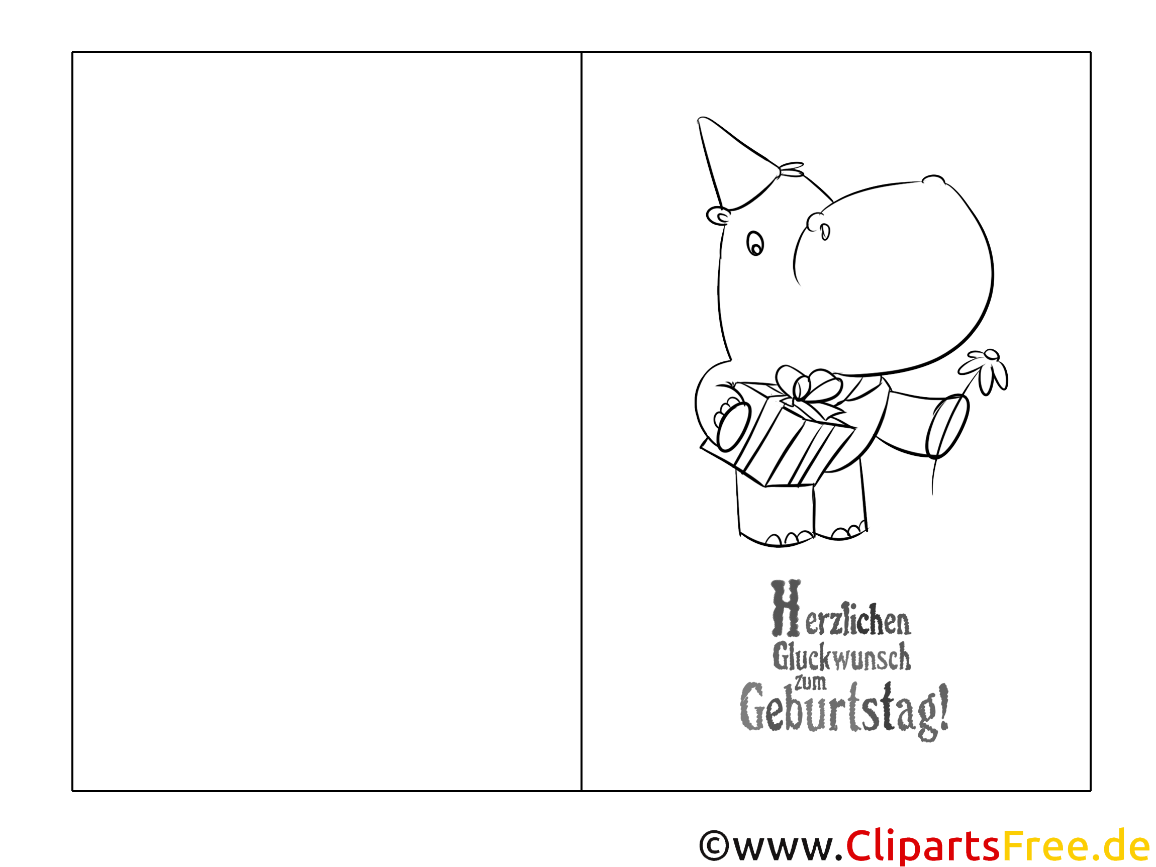 nilpferd vorlage grusskarte zum ausmalen und drucken
