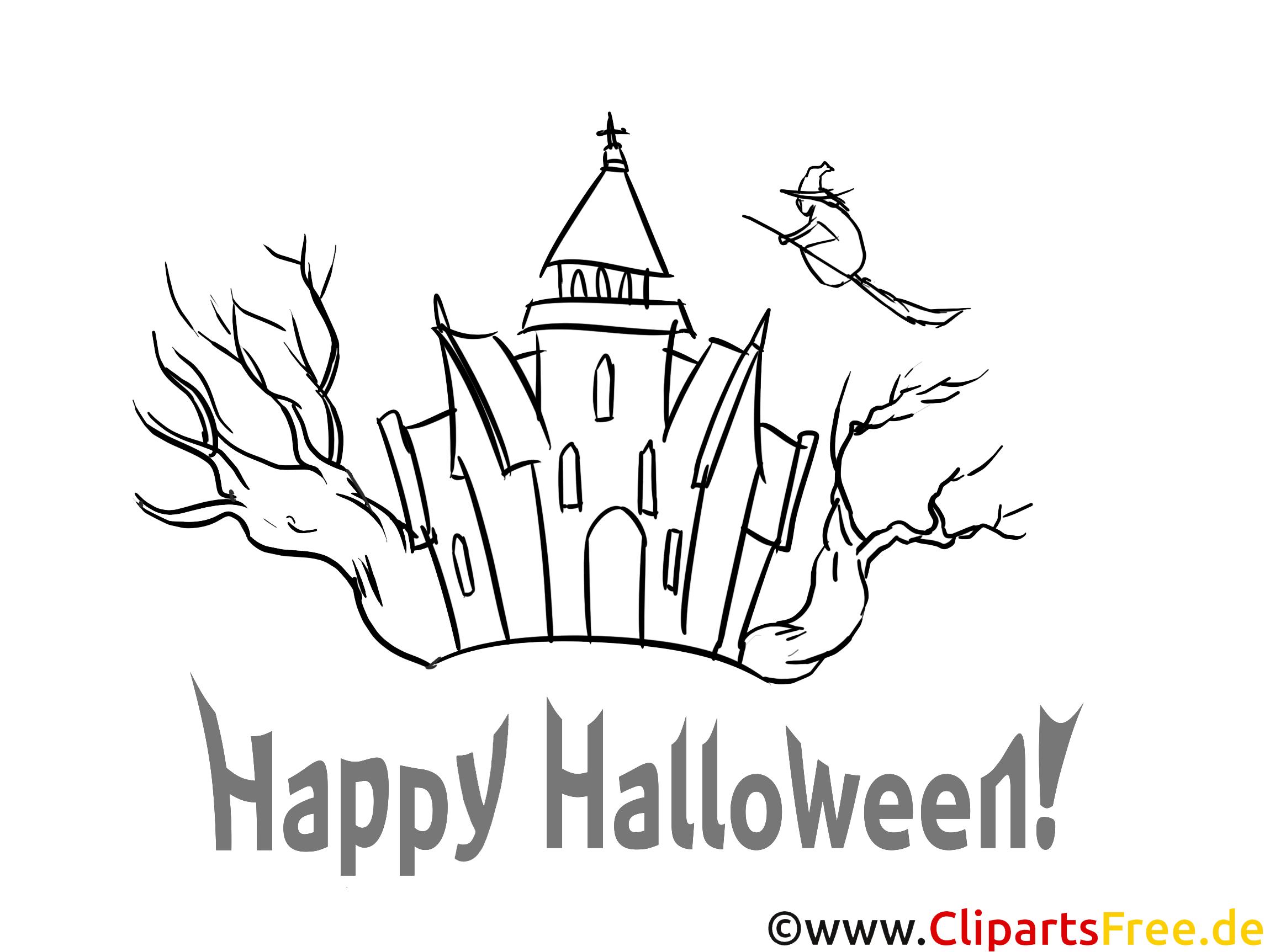 Ausmalbild Halloween mit Burg