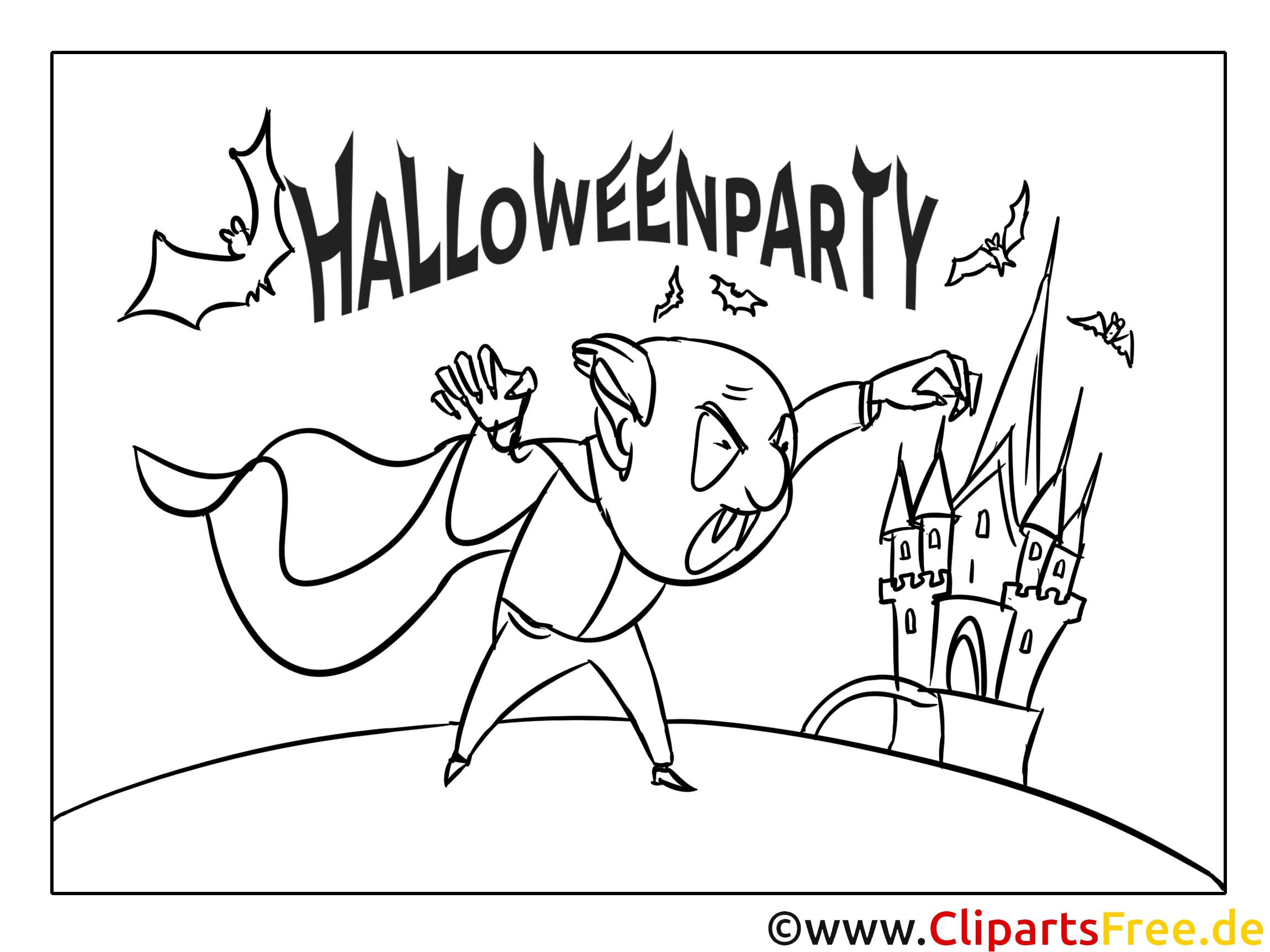 Böser Vampir Cartoon-Malvorlage zu Halloween