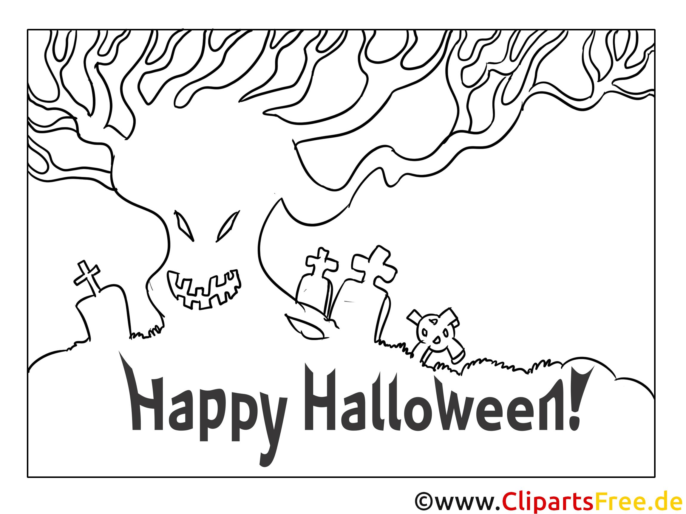 Cartoon zum Ausmalen zu Halloween