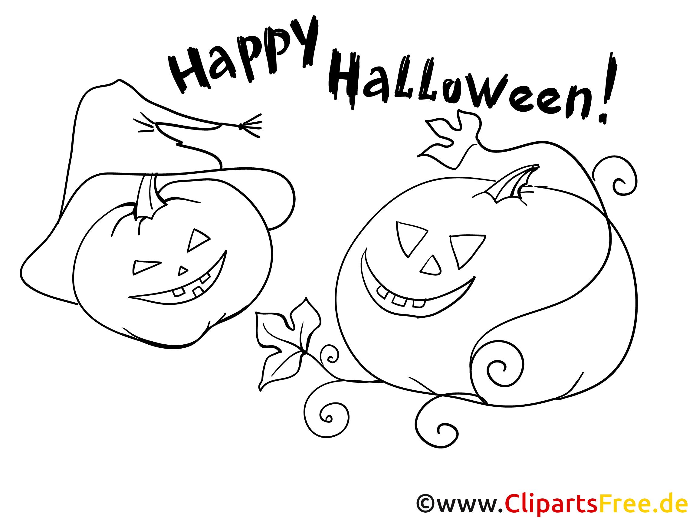 Einfache Malvorlage zu Halloween für kleine Kinder