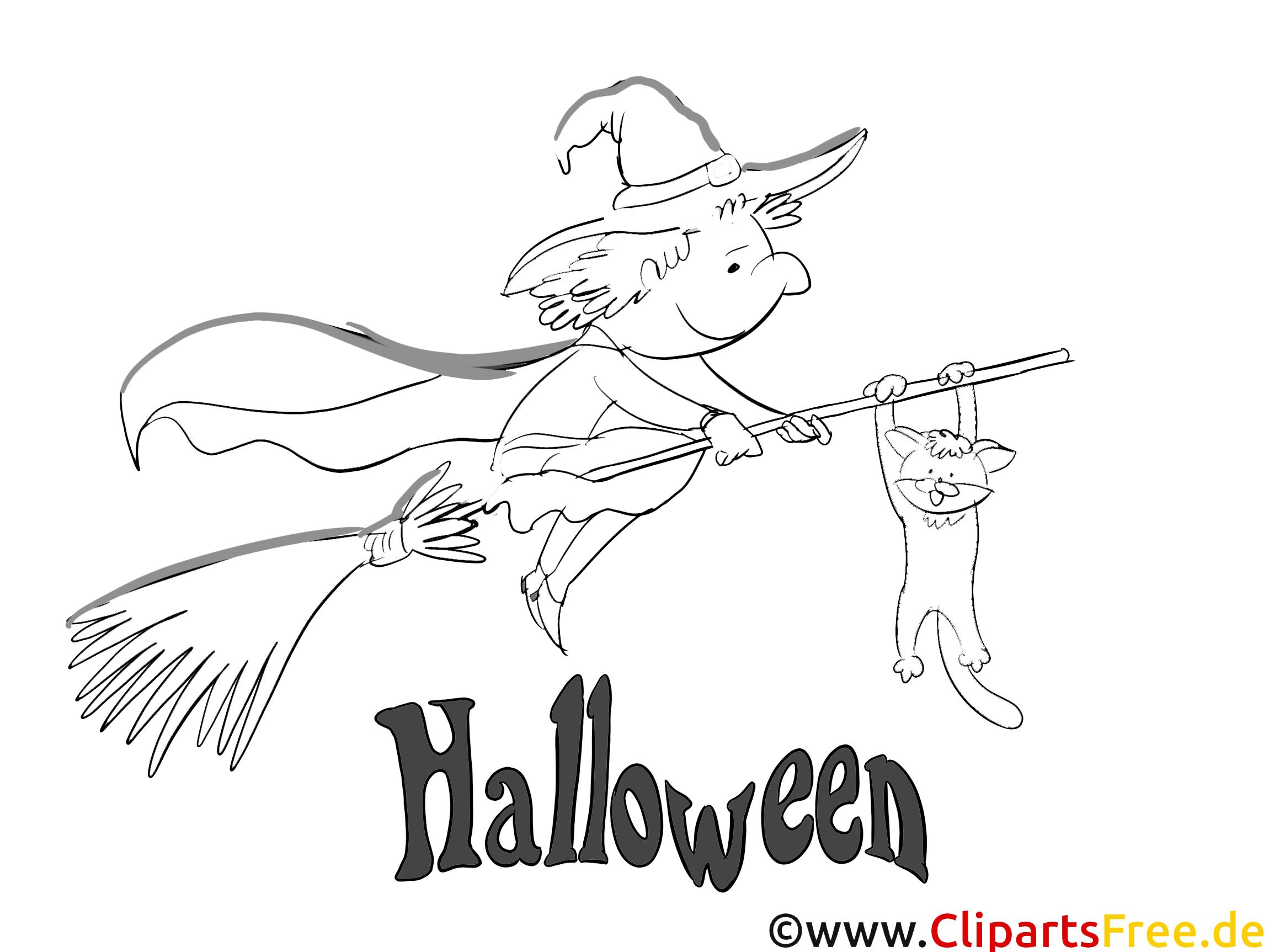 Fliegende Hexe zu Halloween Bild, Malvorlage