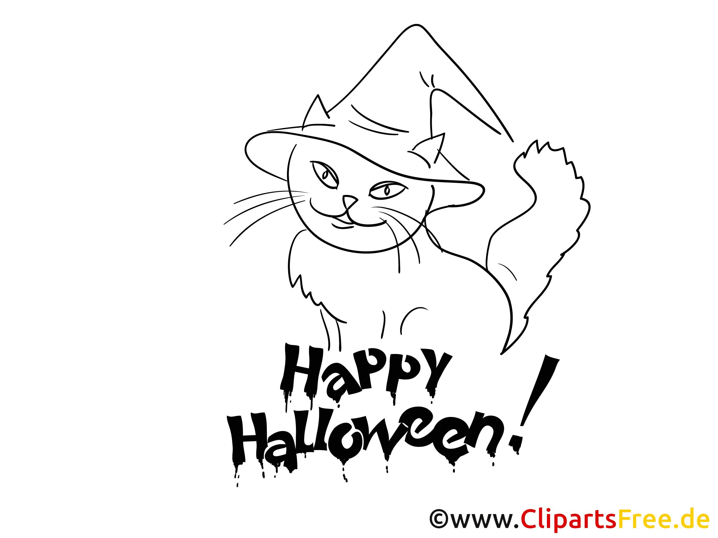 Für kleine Kinder Malvorlage mit Katze im Hexenhut