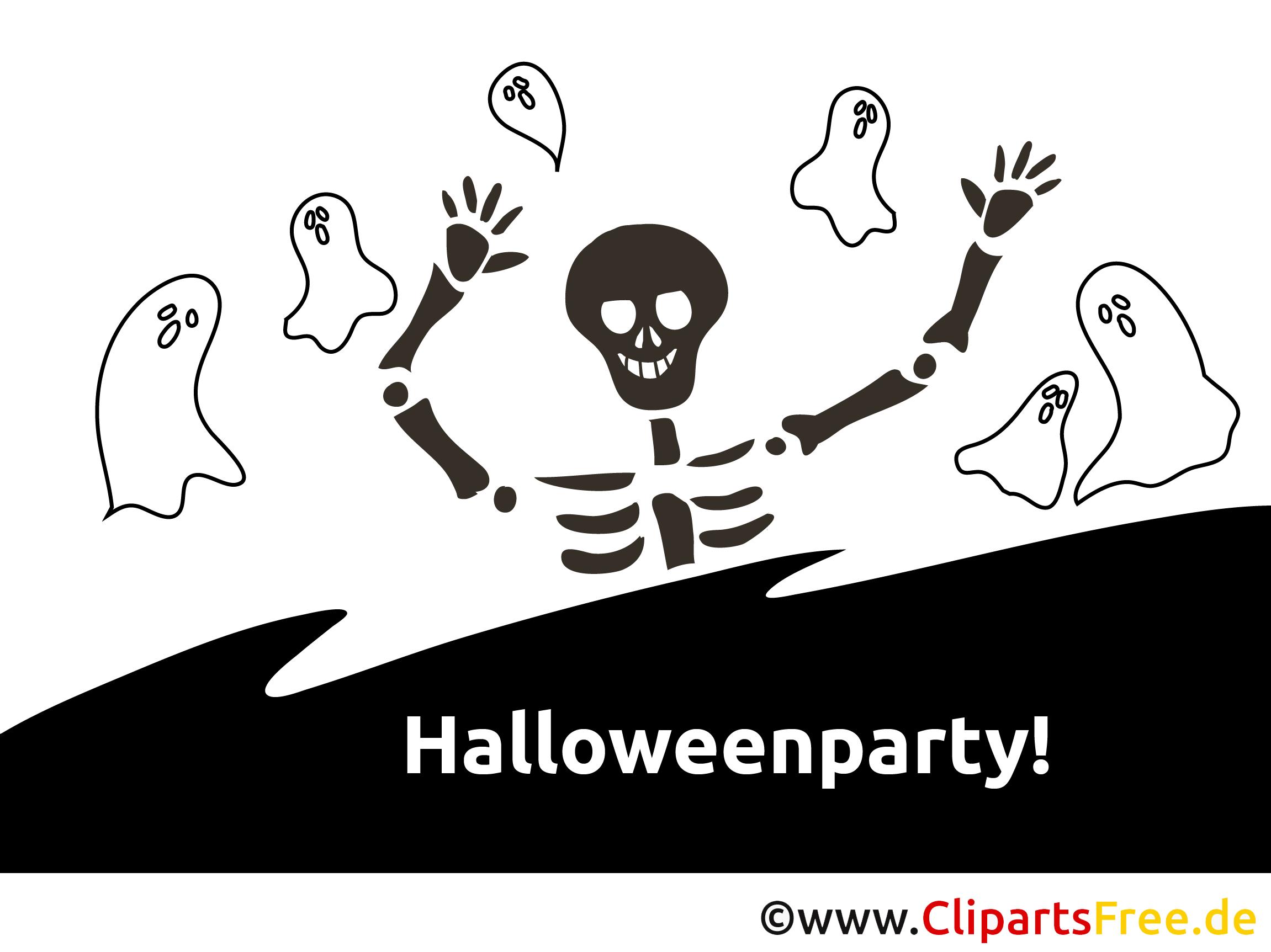 geister skelett halloween malvorlageeinladung