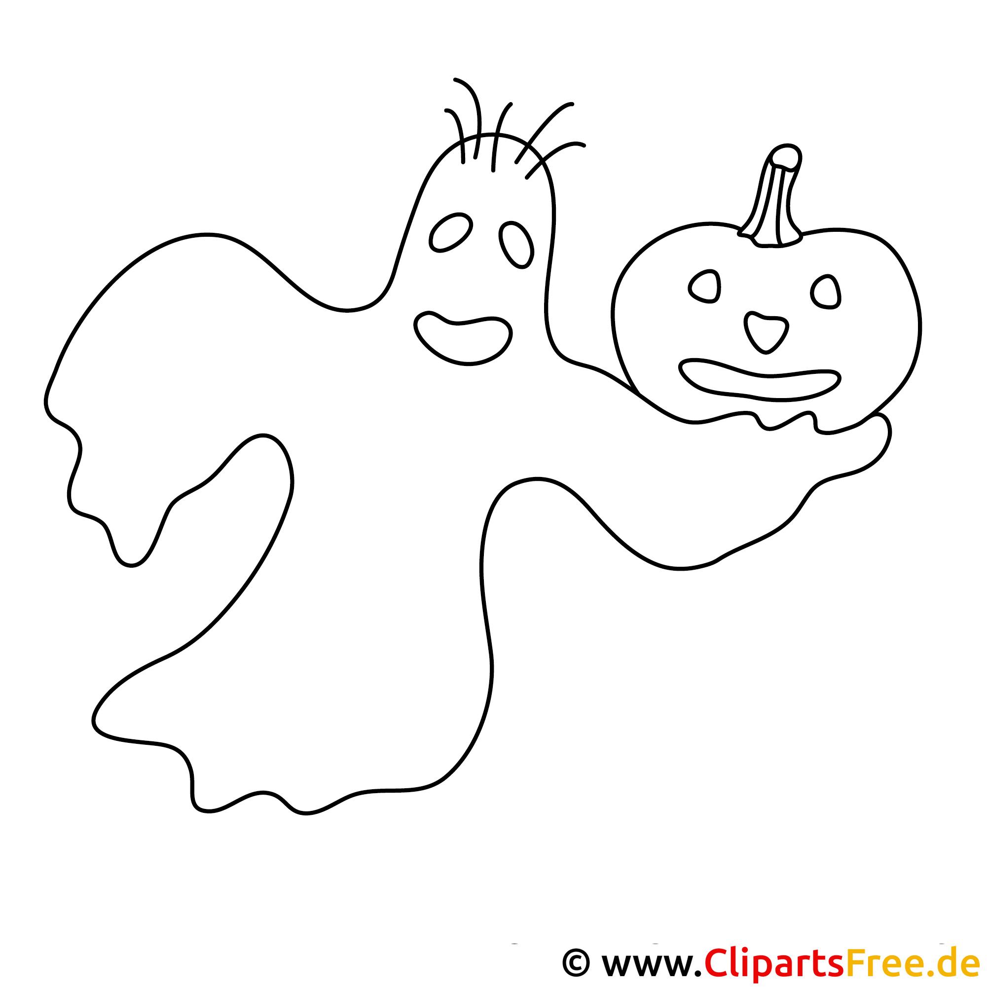 Gespenst Halloween Malvorlage kostenlos
