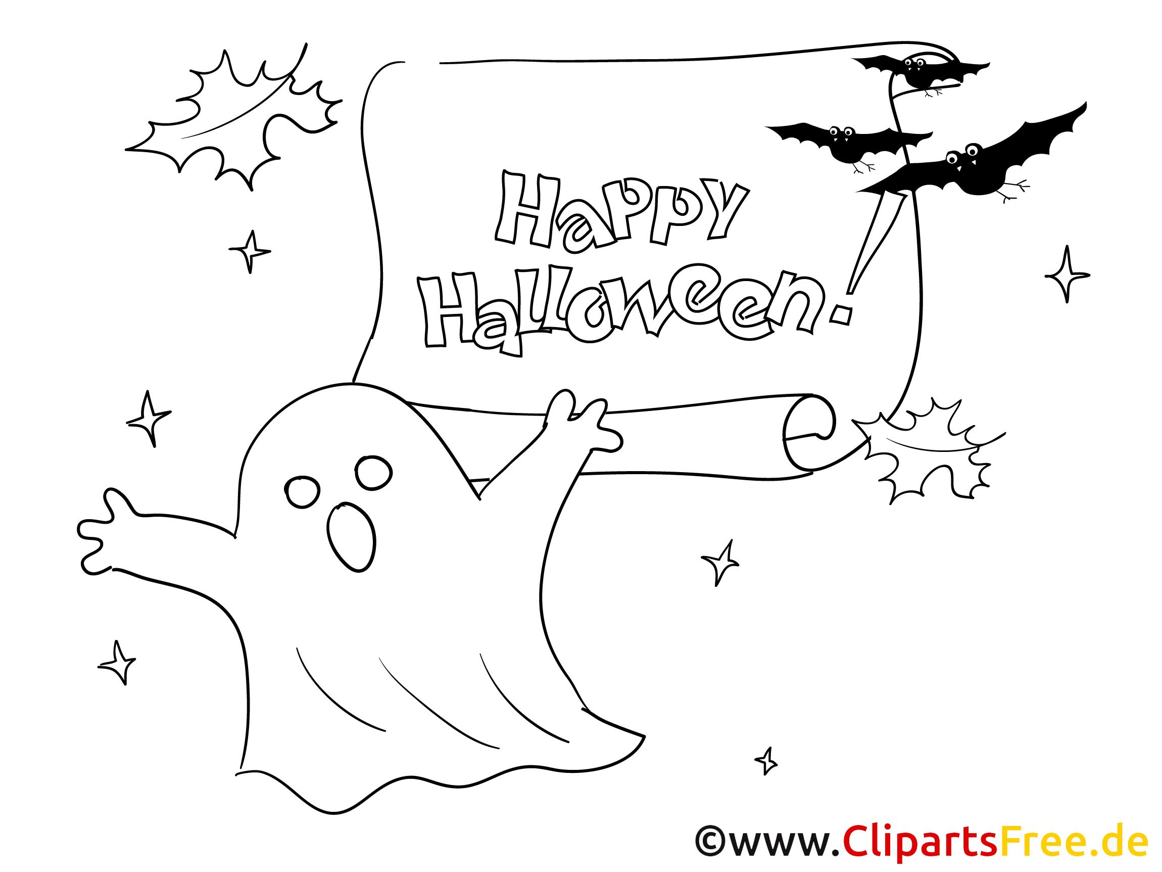 Gespenster und Fledermäuse Bild zu Halloween