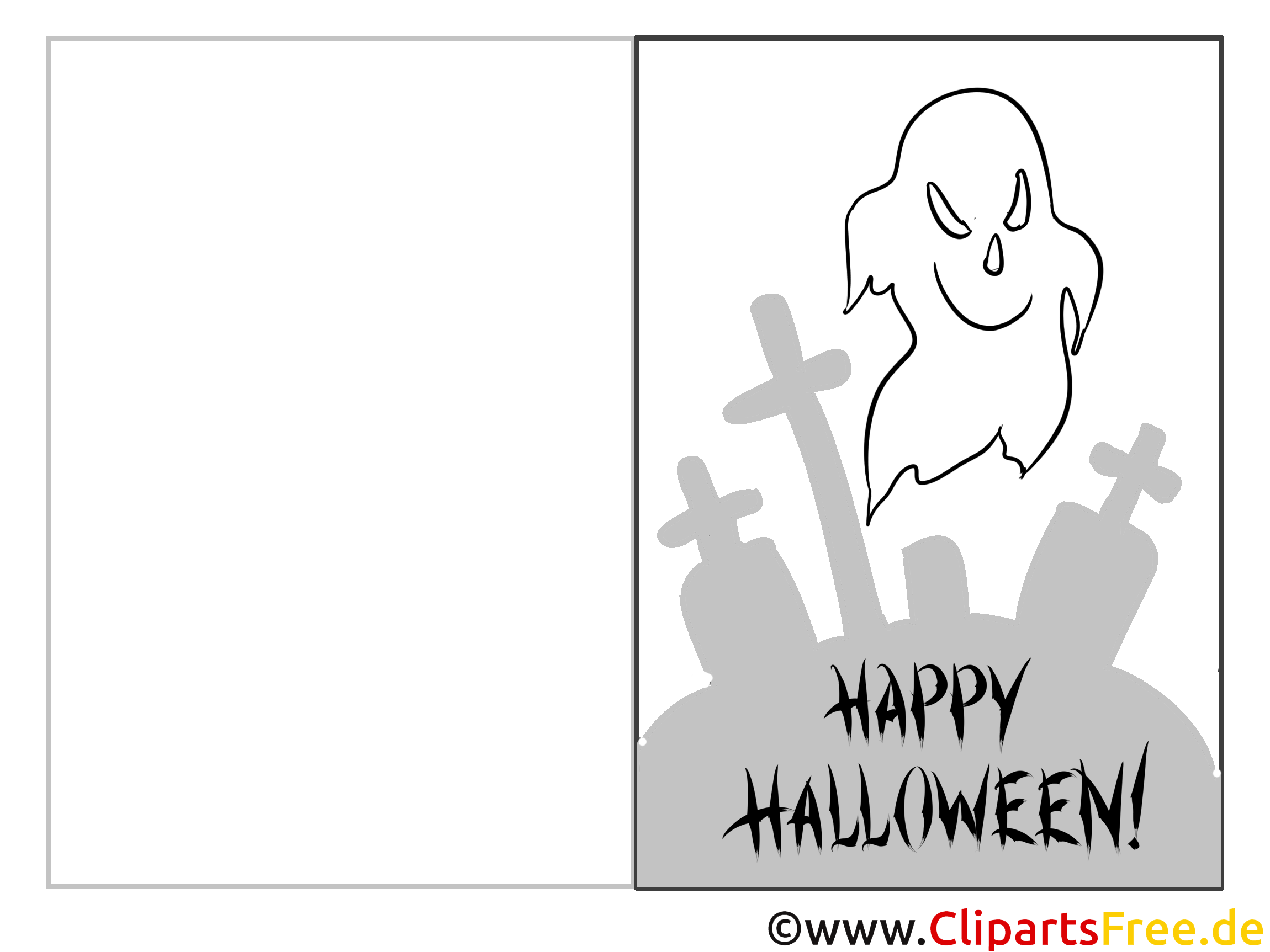 Gespenster zu Halloween Malvorlage