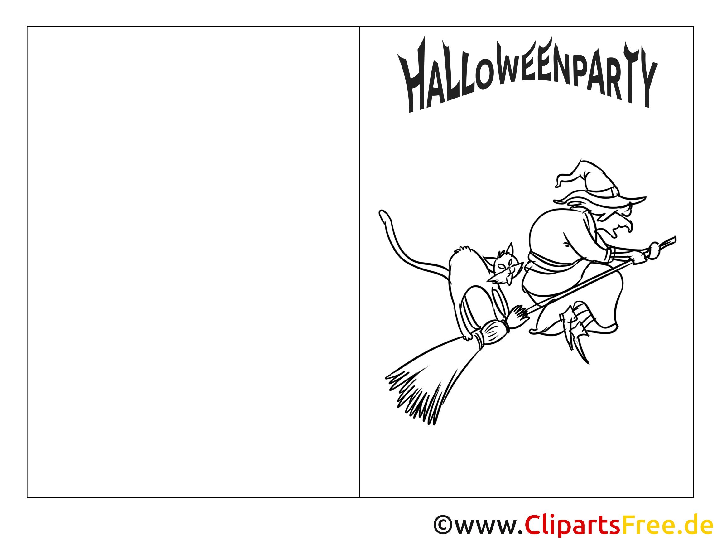 Gruselige Hexe auf Besen - Bild zum Ausmalen