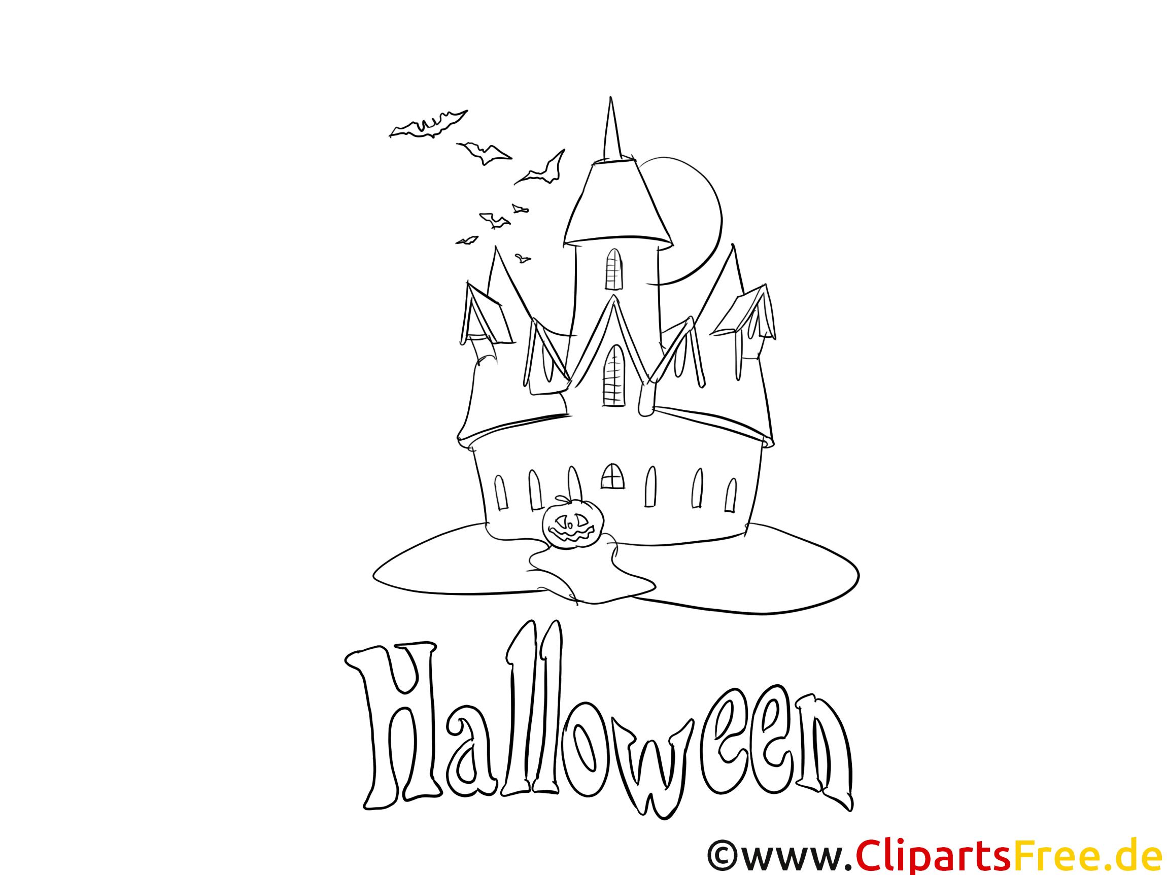 Gruseliger Schloss  Halloween Malvorlage