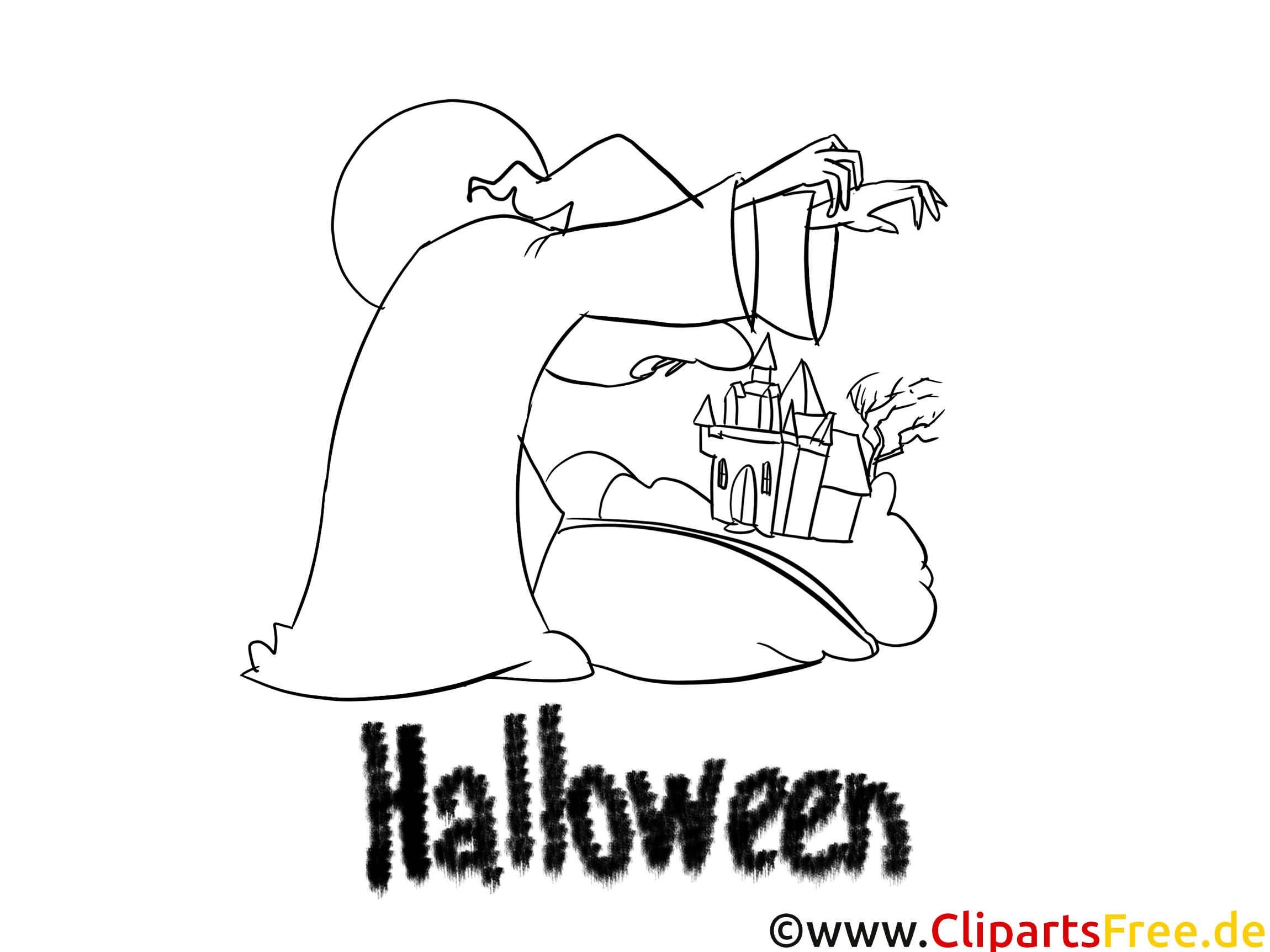 Gruzelige Malvorlage, Ausmalbild, Vorlage zu Halloween