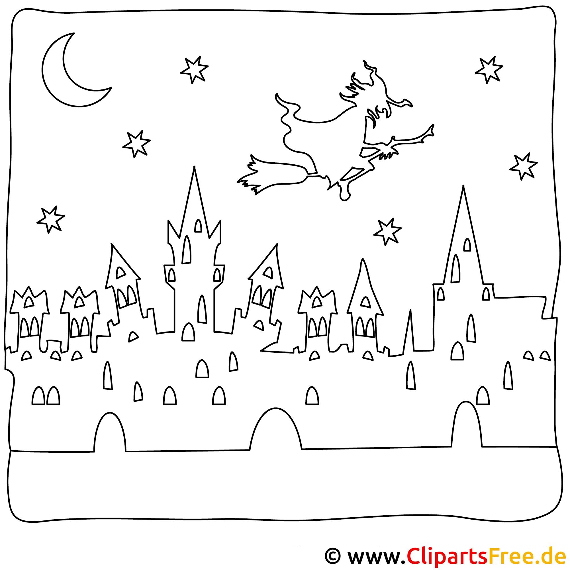 Halloween Ausmalbilder mit Hexe auf Besen