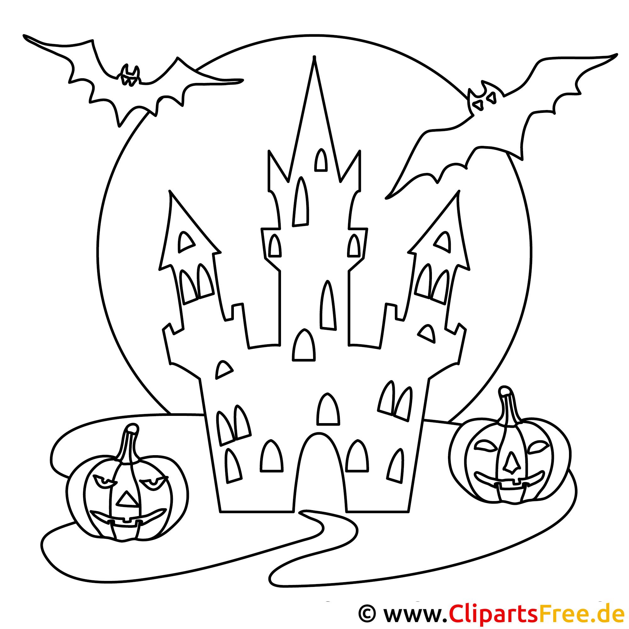 Halloween Bild zum Ausmalen Schloss