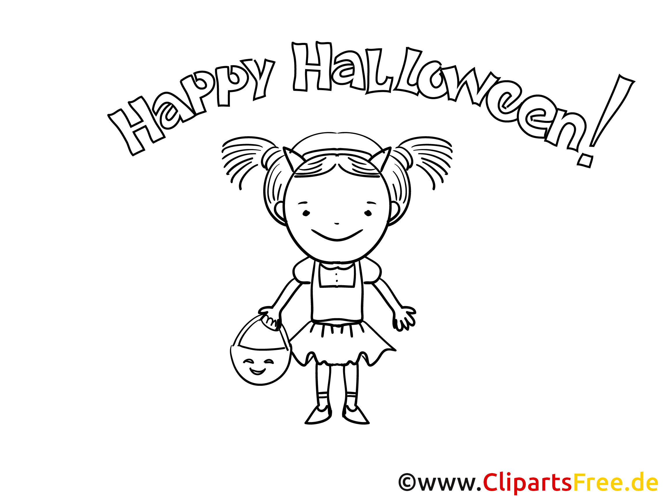 Halloween Coloring Sheet for Girls