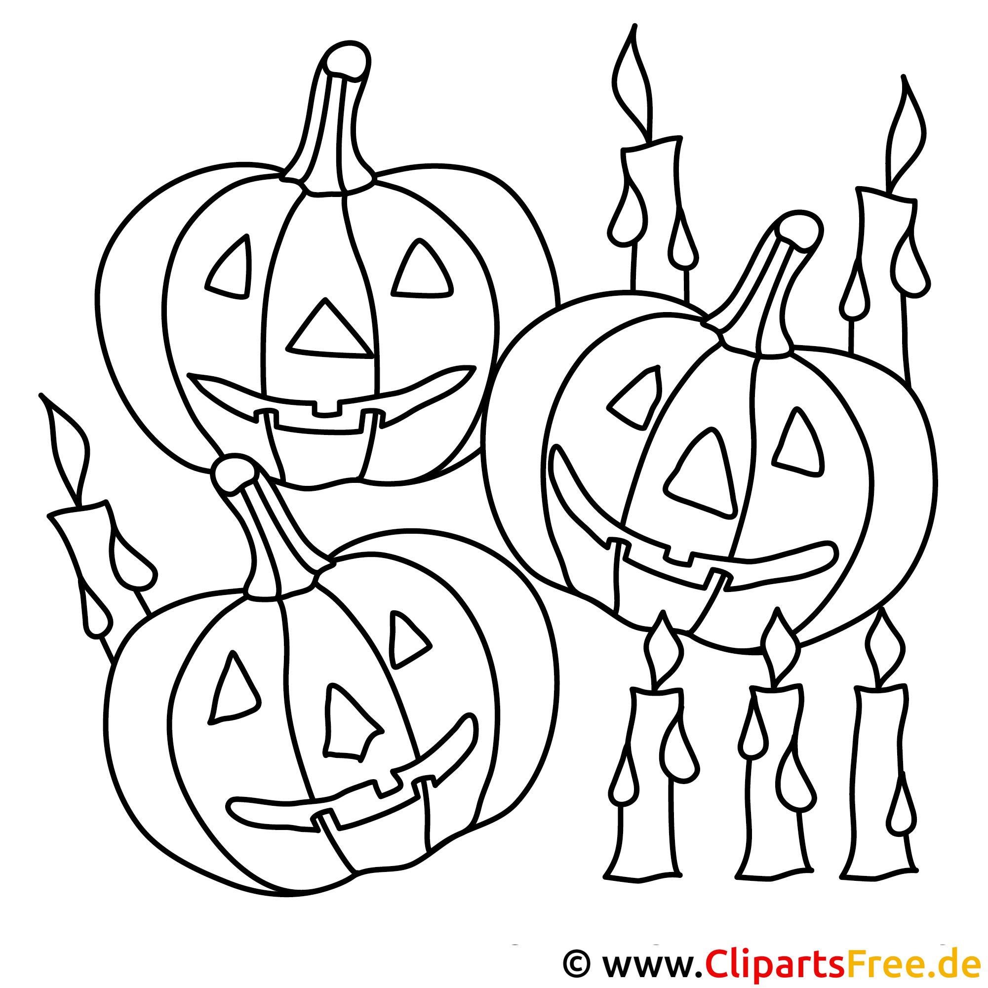 Halloween Malvorlage gratis mit Kurbis
