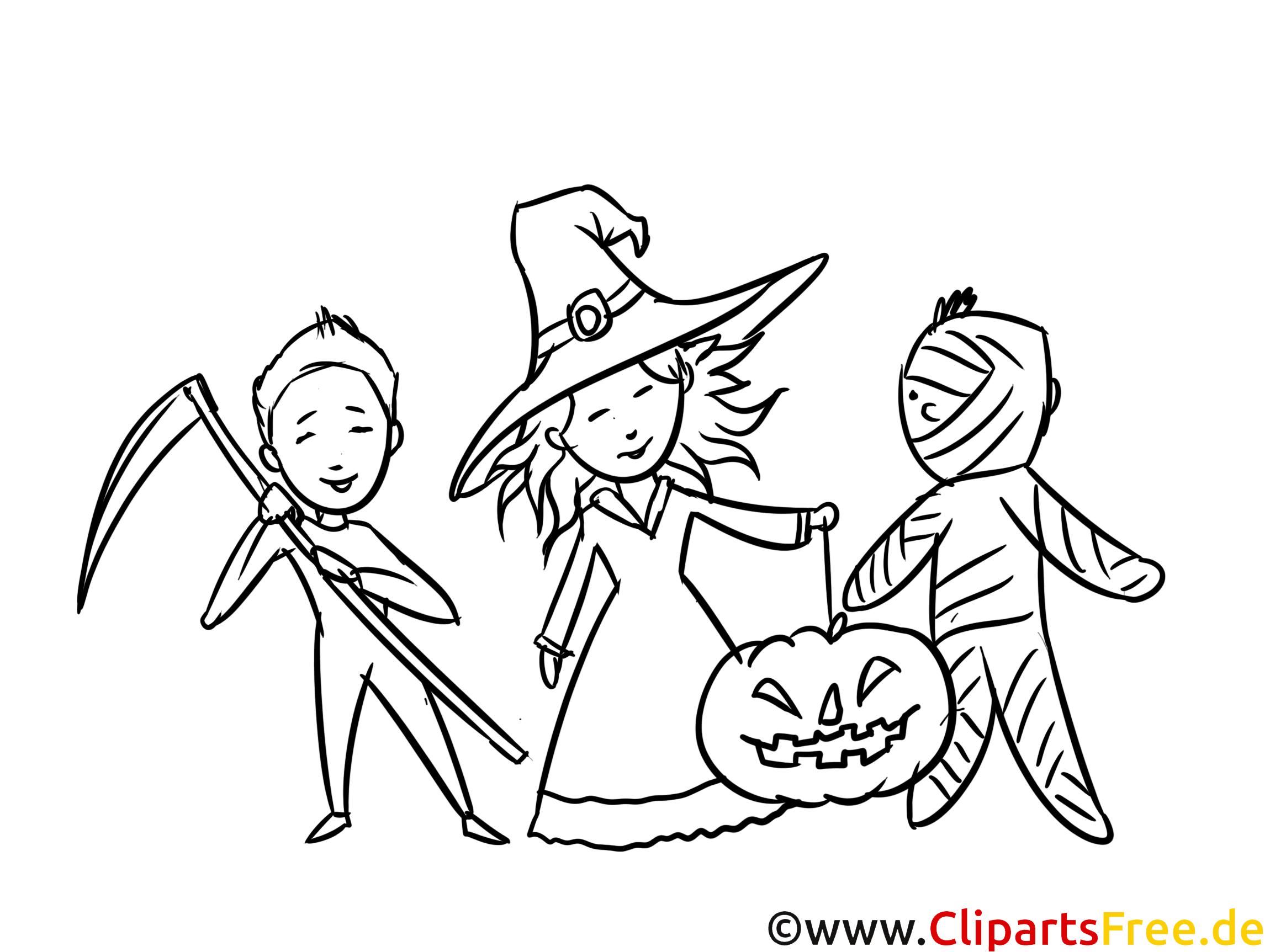 Halloween Party Bild-Vorlage zum Ausmalen