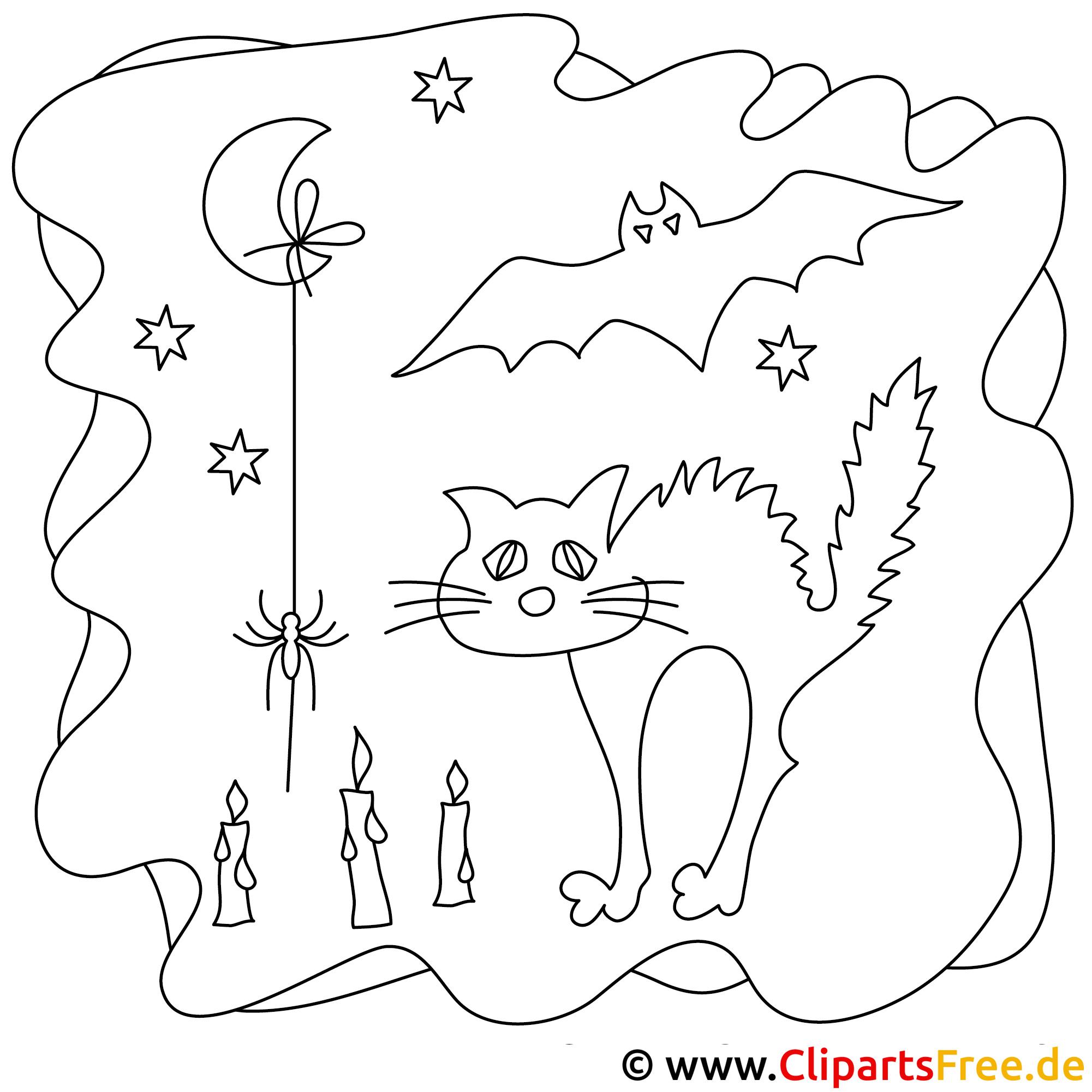 Helloween Malvorlage Schwarze Katze
