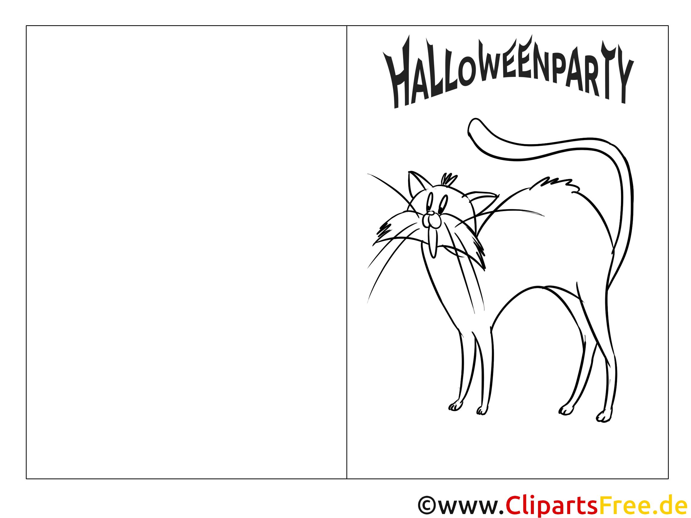 Kostenloses Ausmalbild schwarze Katze zu Halloween