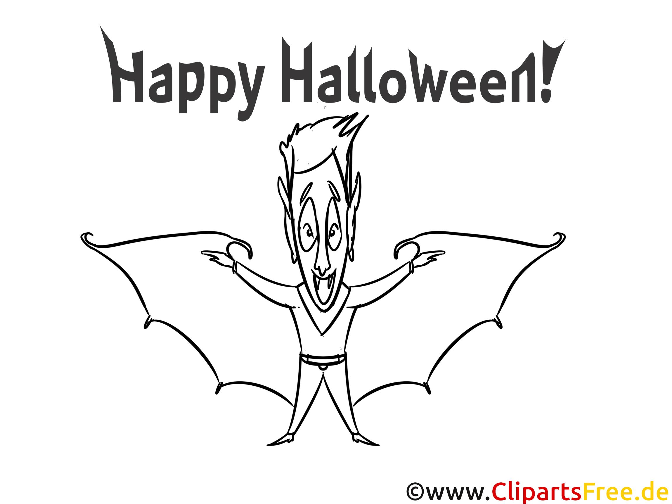 Kostenloses Ausmalbild Vampir zu Halloween