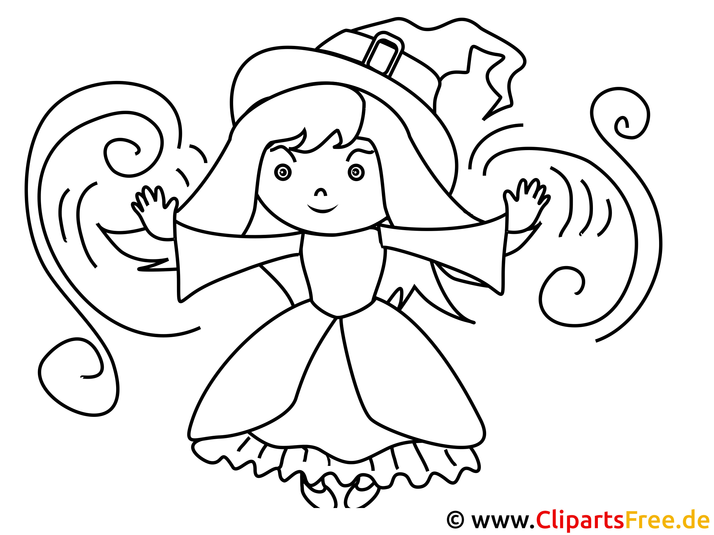 Little Witch Coloring Sheet for free download