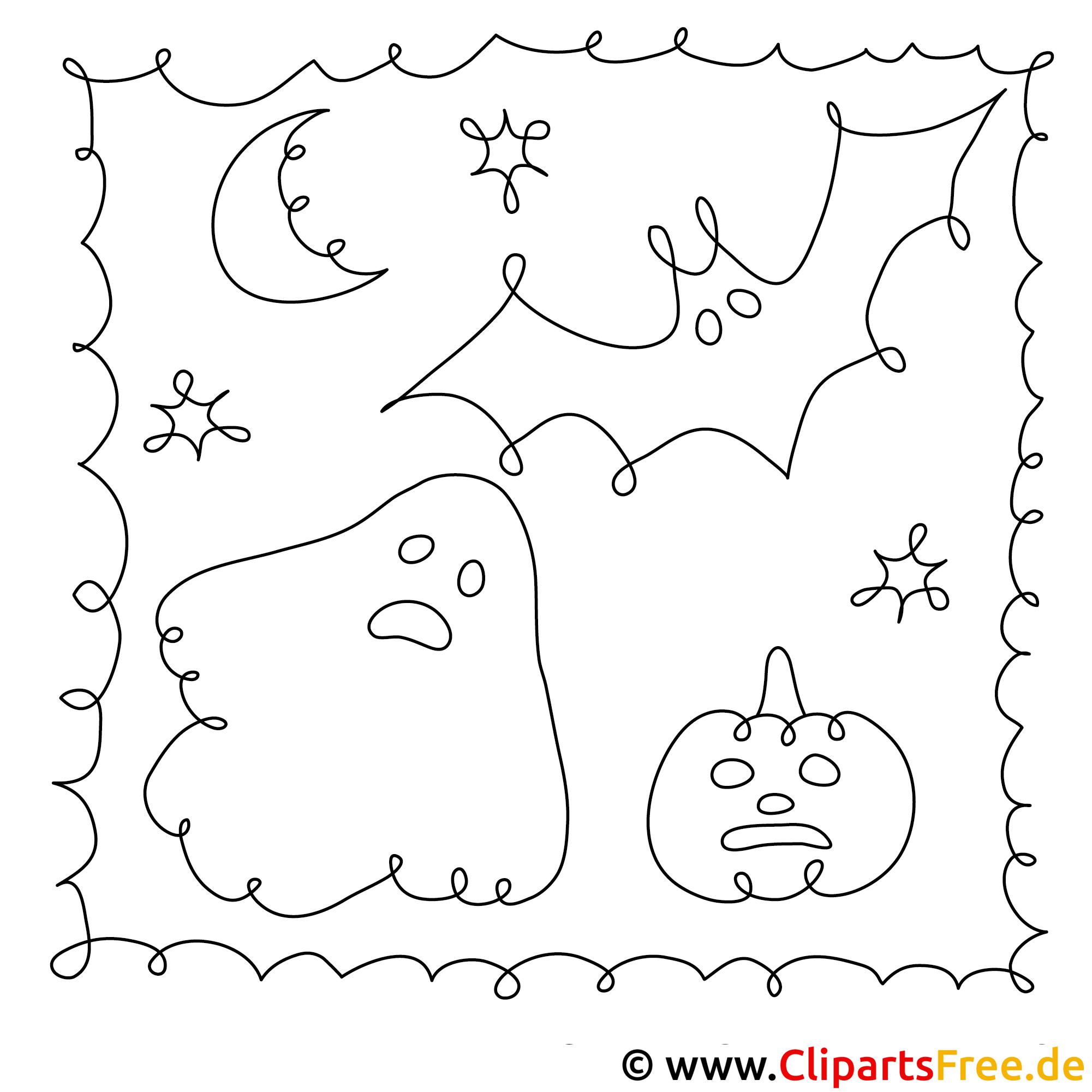 Malvorlage kostenlos zu Halloween
