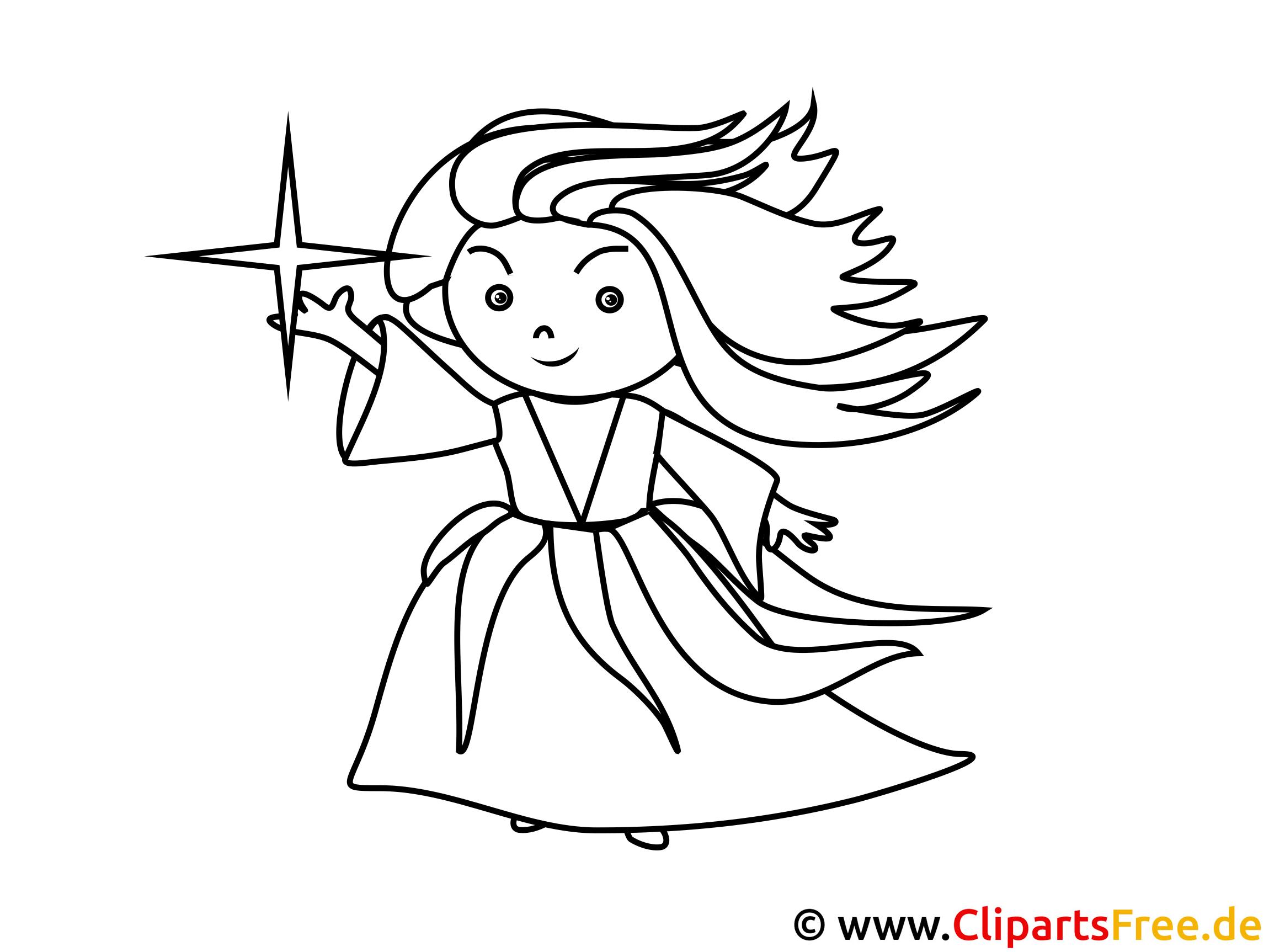 Malvorlage zum Drucken und Ausmalen - Kleine Hexe