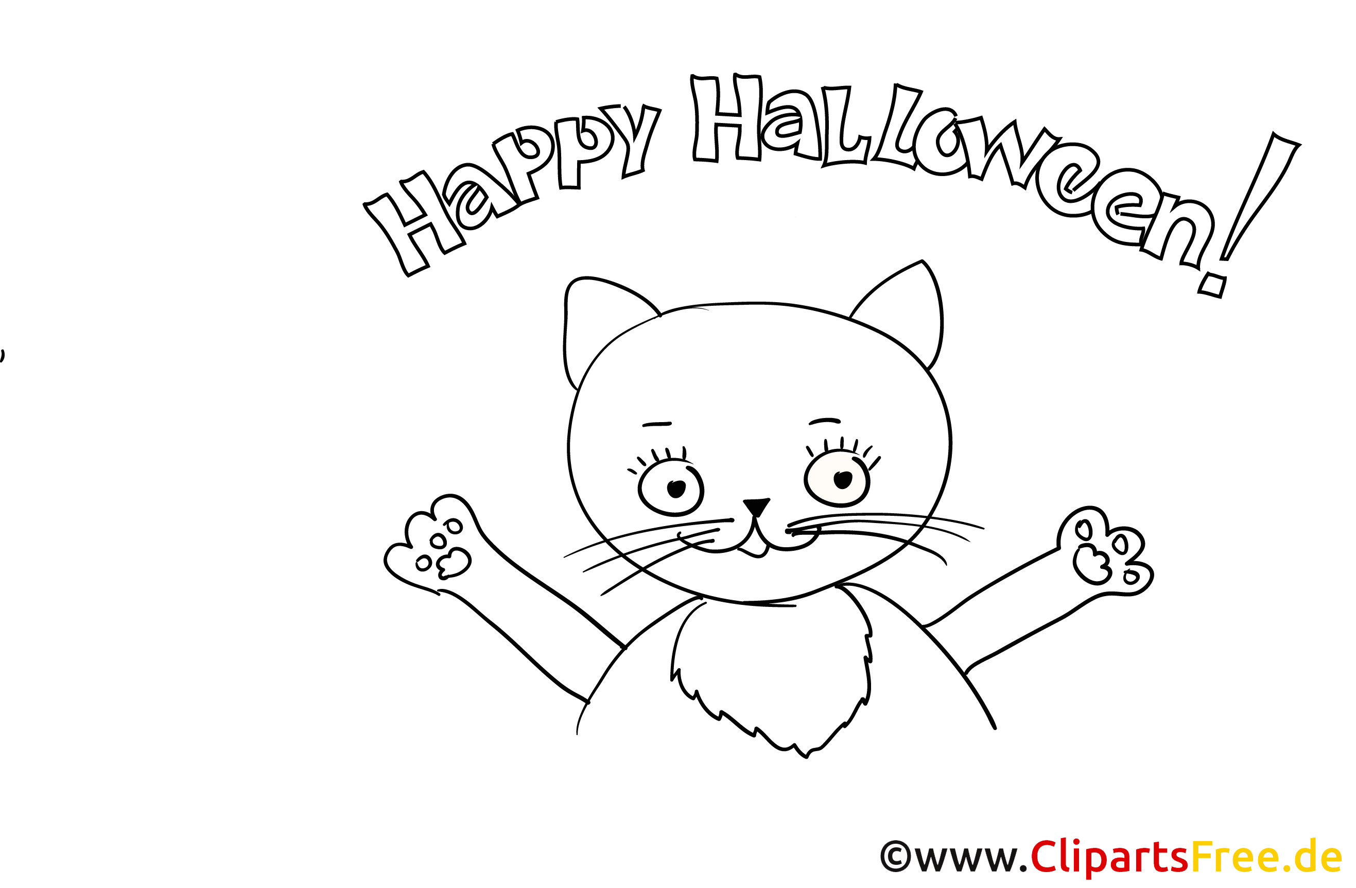 Niedliches Ausmalbild mit Katze zu Halloween