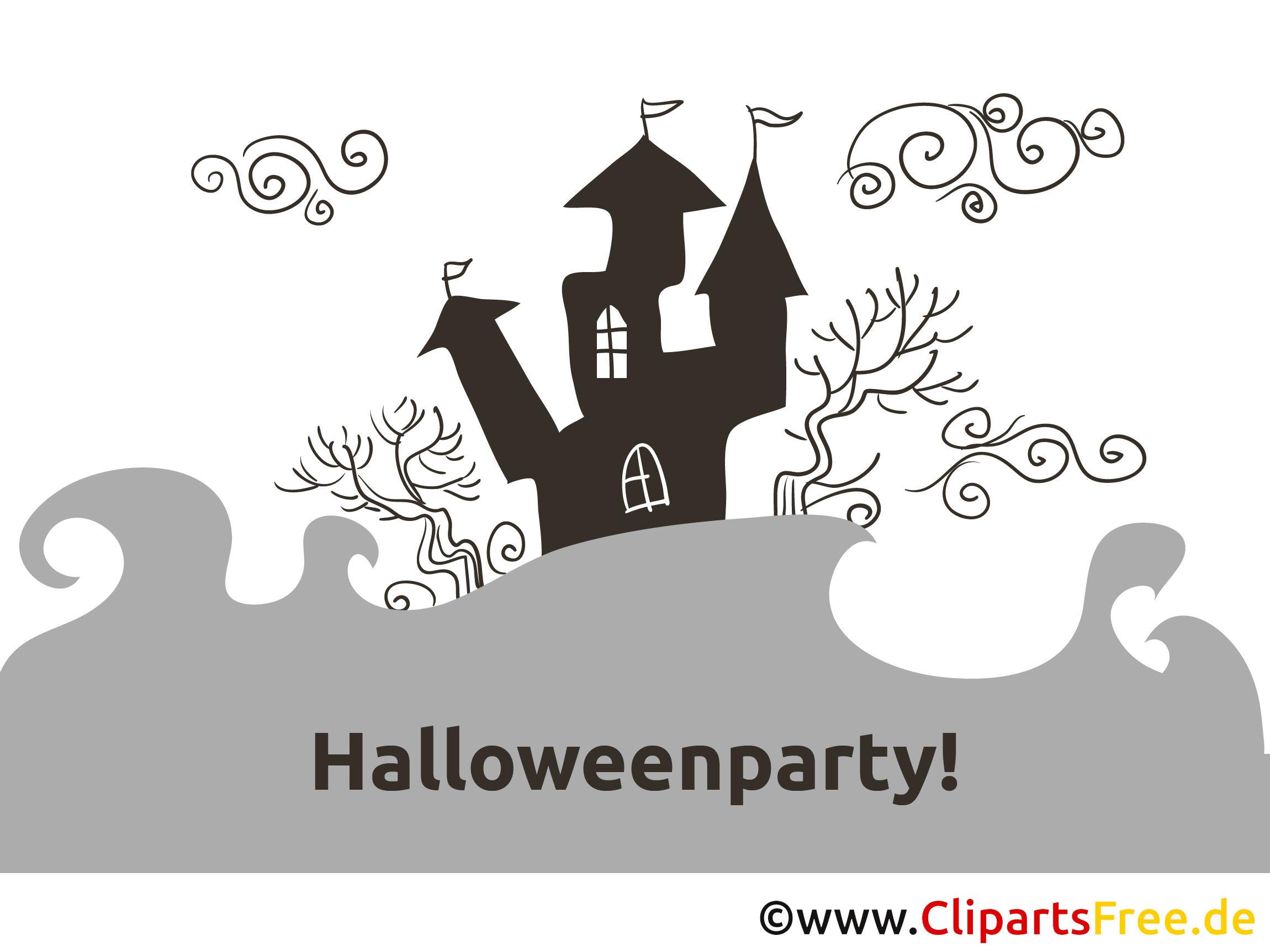 Schloß Halloween Malvorlage-Einladung