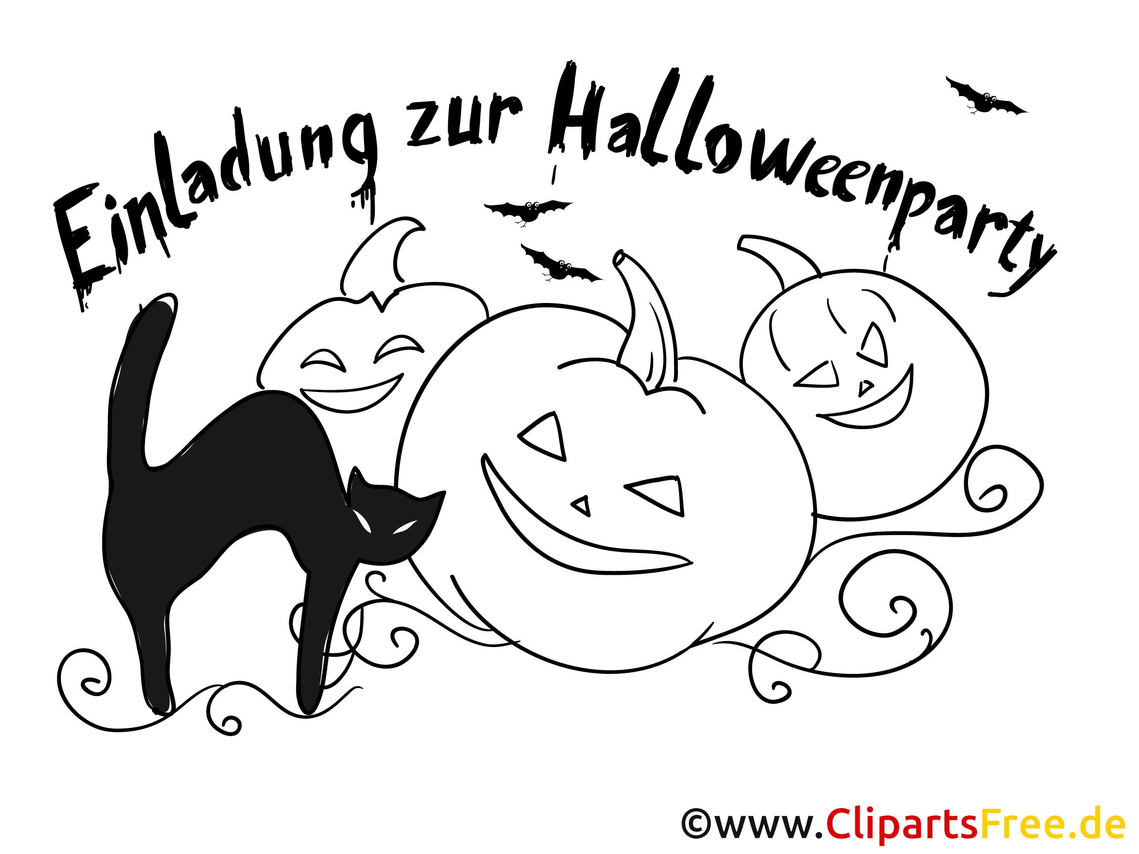 Schwarze Katze Kürbis Halloween Malvorlage-Einladung