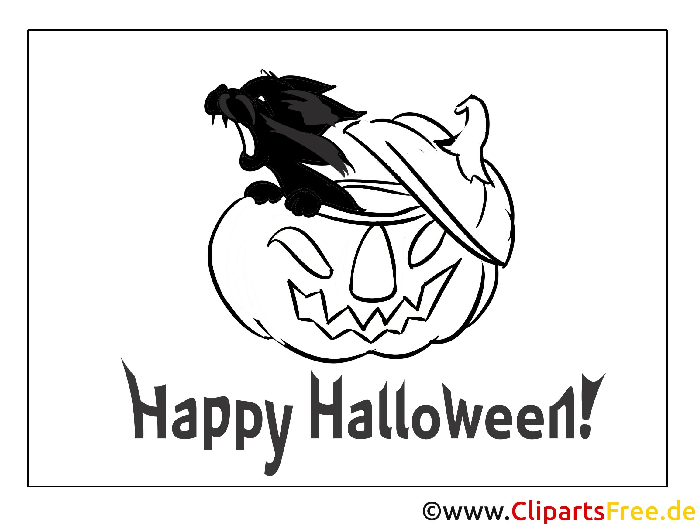 Schwarze Katze zum Halloween Bilder zum Ausmalen