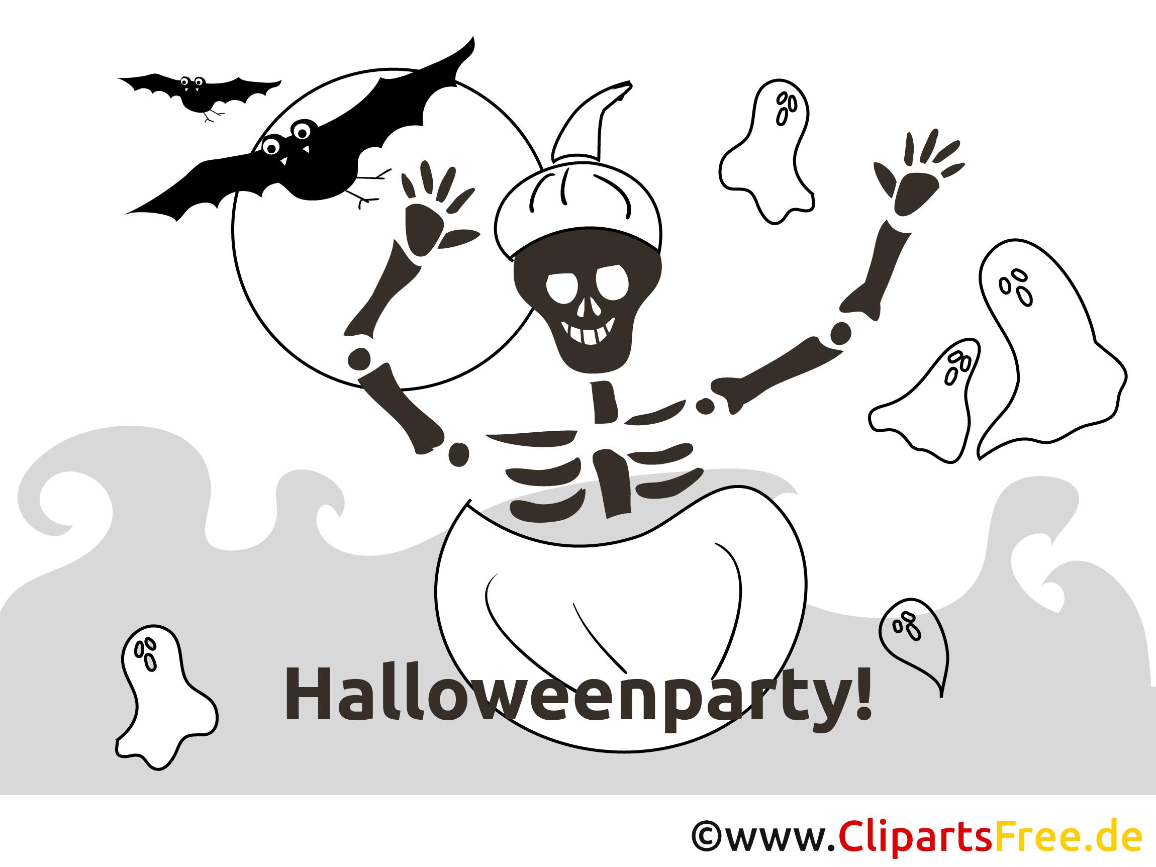 Skelett Kürbis Halloween Malvorlage-Einladung