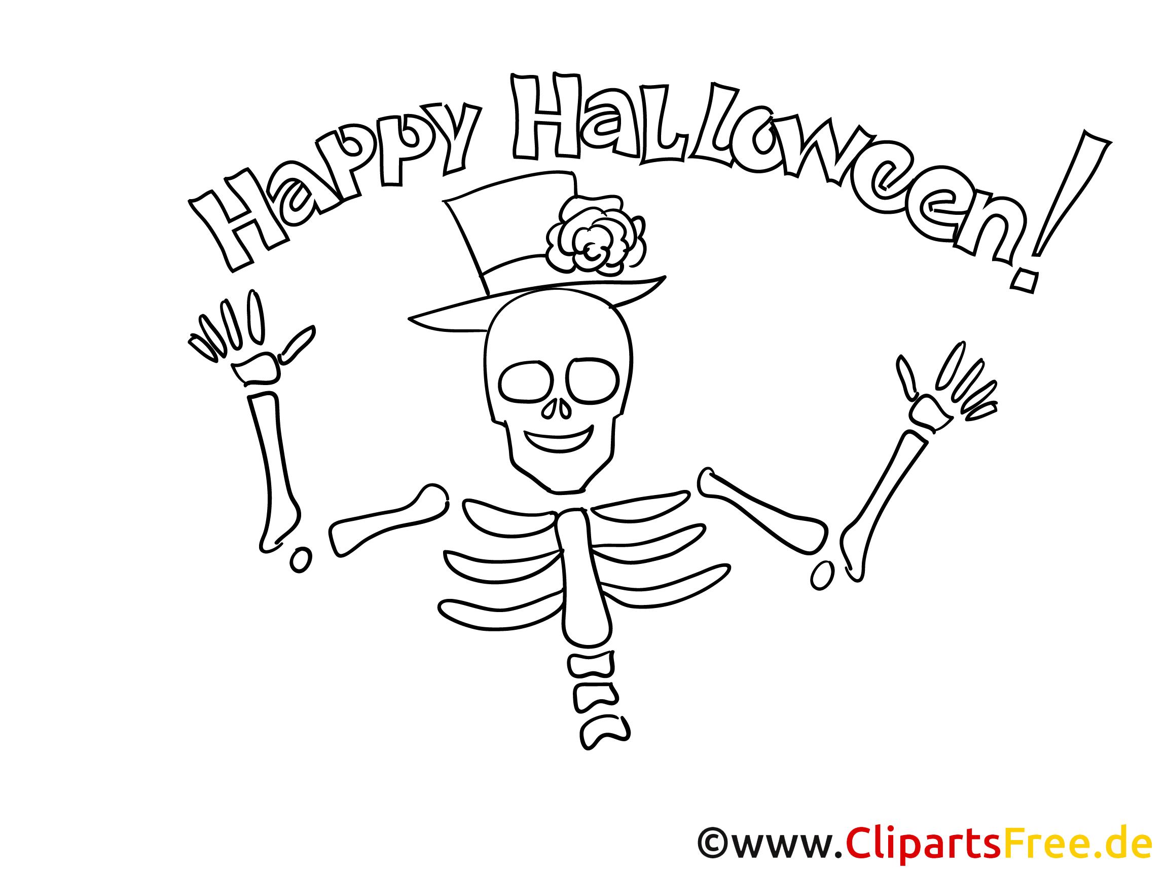 Skelett Malvorlage zu Halloween