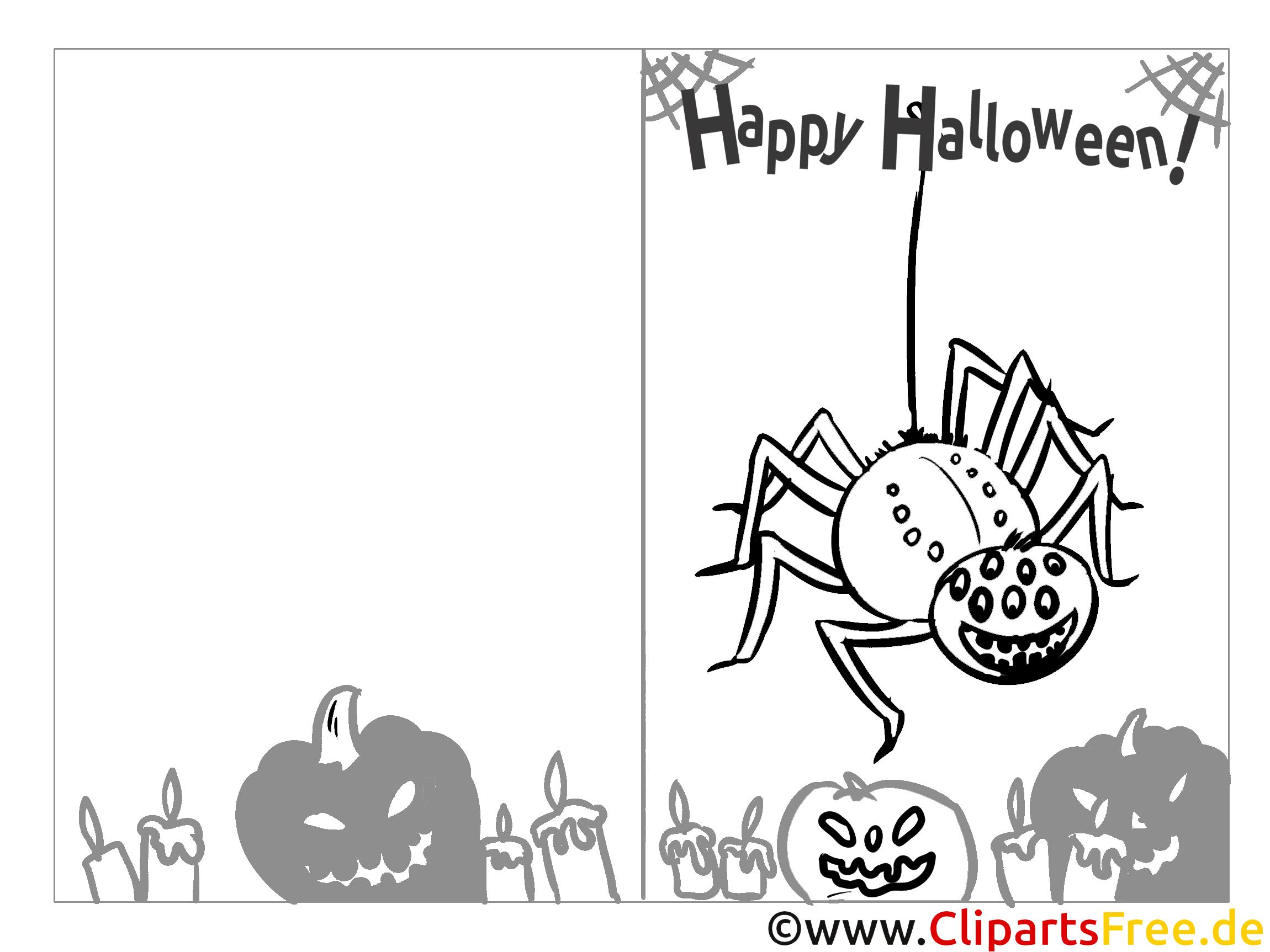 spinne malvorlage zu halloween als grusskarte