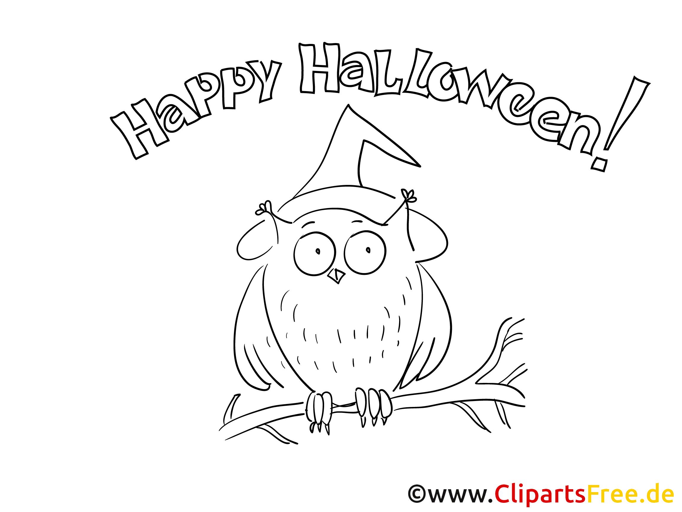 Uhu Malvorlage zu Halloween