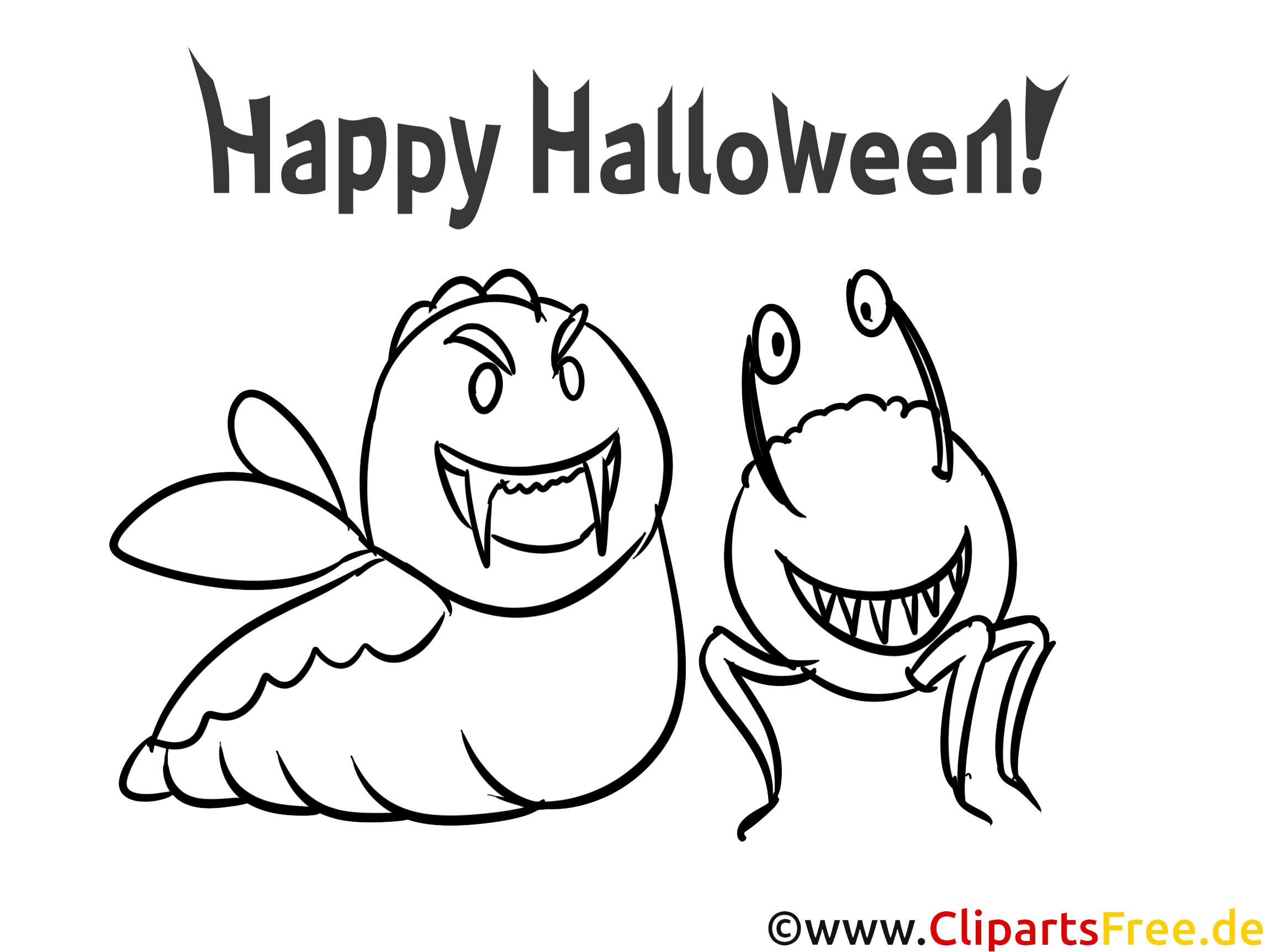 Witzige Figuren zu Halloween Bilder zum Malen