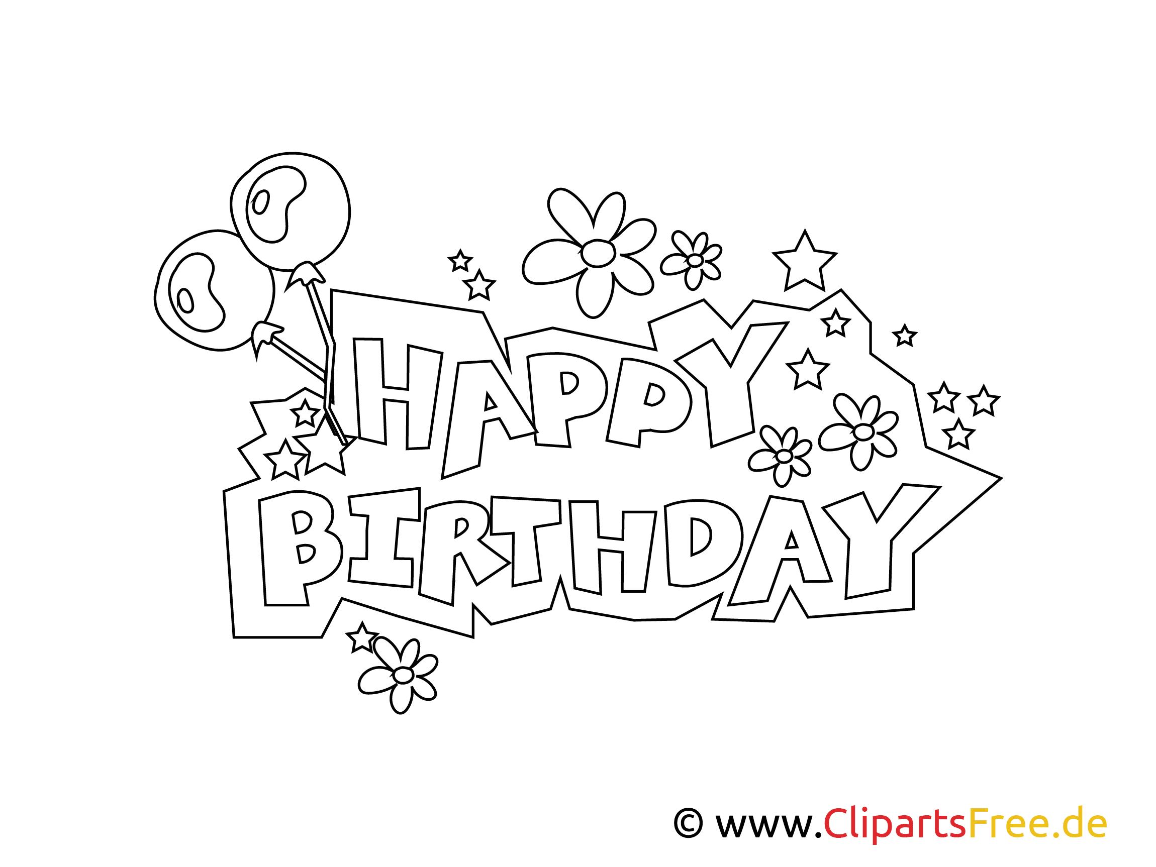 Ausmalbilder Zum Ausdrucken Happy Birthday - Kostenlos zum ...