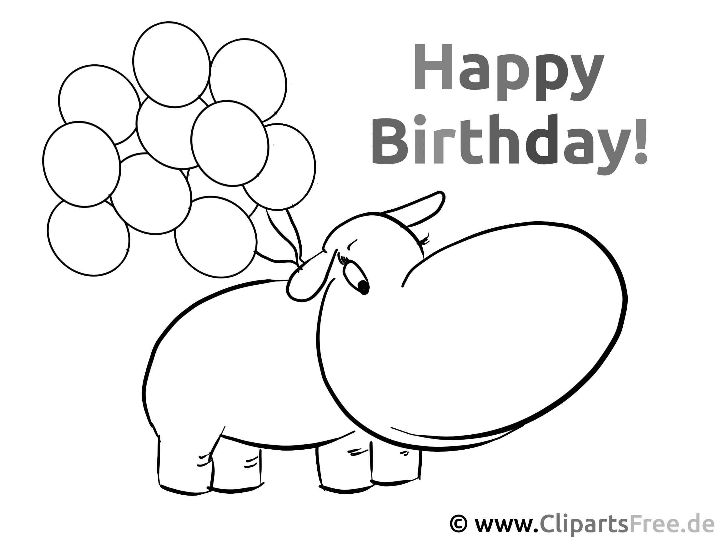 color the picture for kids  happy birthday