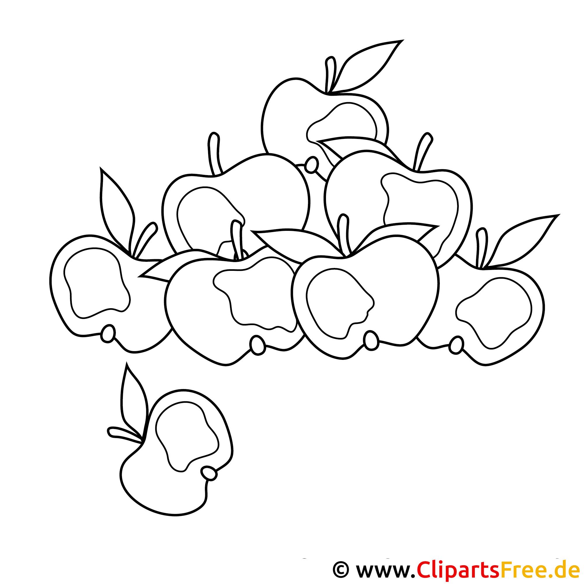 Herbst Malvorlagen - Aepfelernte auf dem Bauernhof
