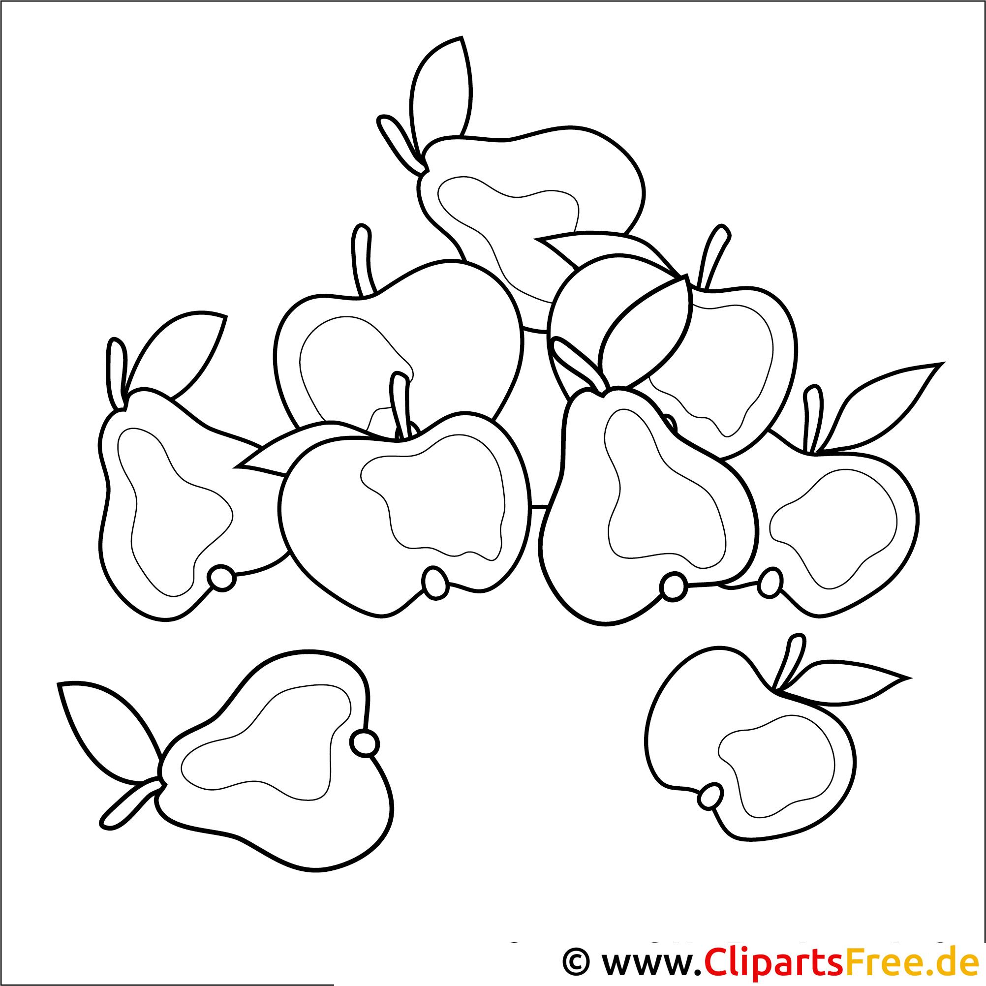 Kostenloses Ausmalbild zum Ausmalen Birnen und Aepfel im Herbst